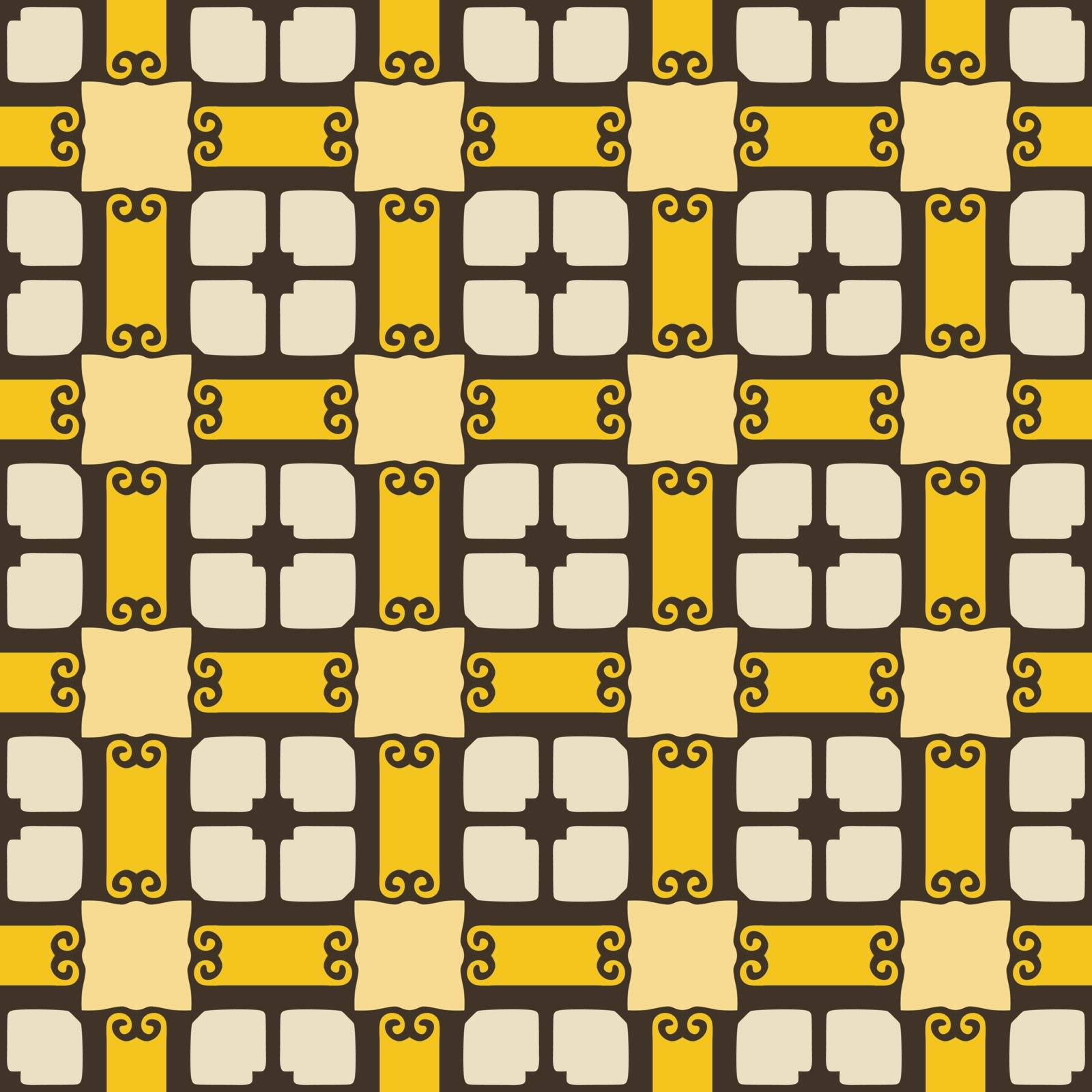 Seamless illustrated pattern made of abstract elements in beige, yellow and black