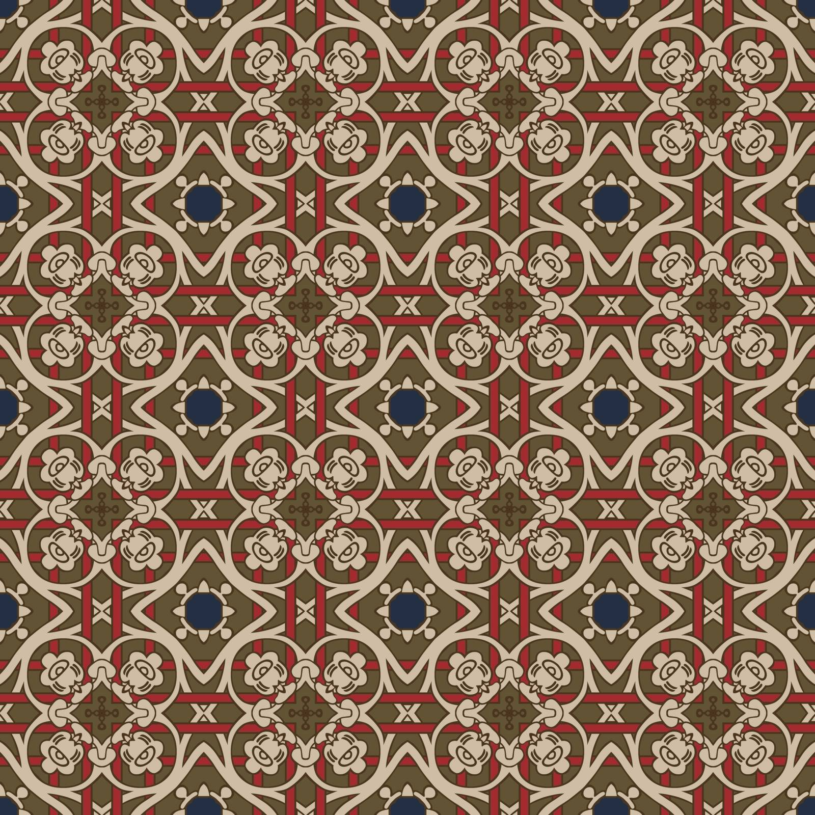 Seamless illustrated pattern made of abstract elements in beige,red, blue and brown
