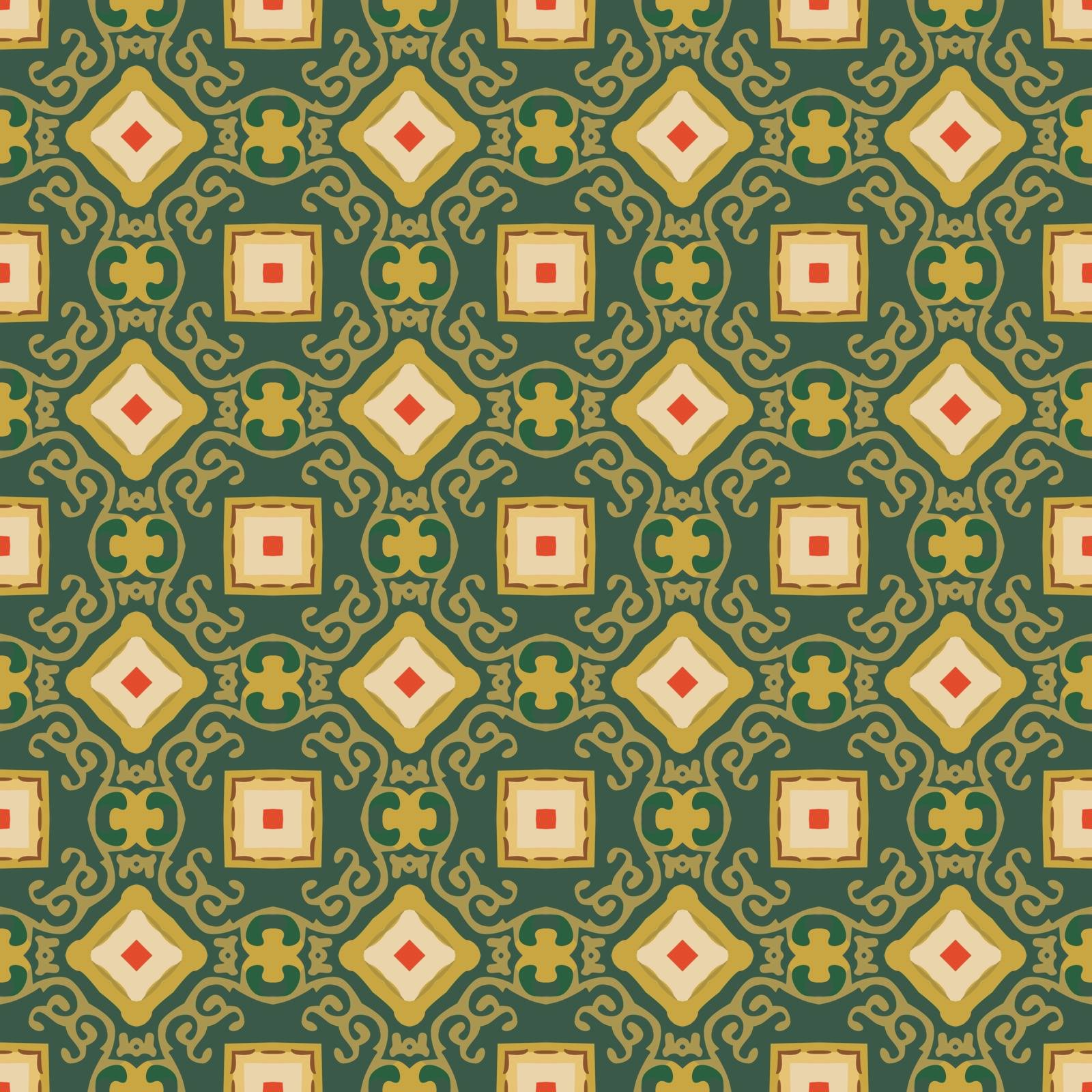Seamless illustrated pattern made of abstract elements in beige, yellow, red, brown and green