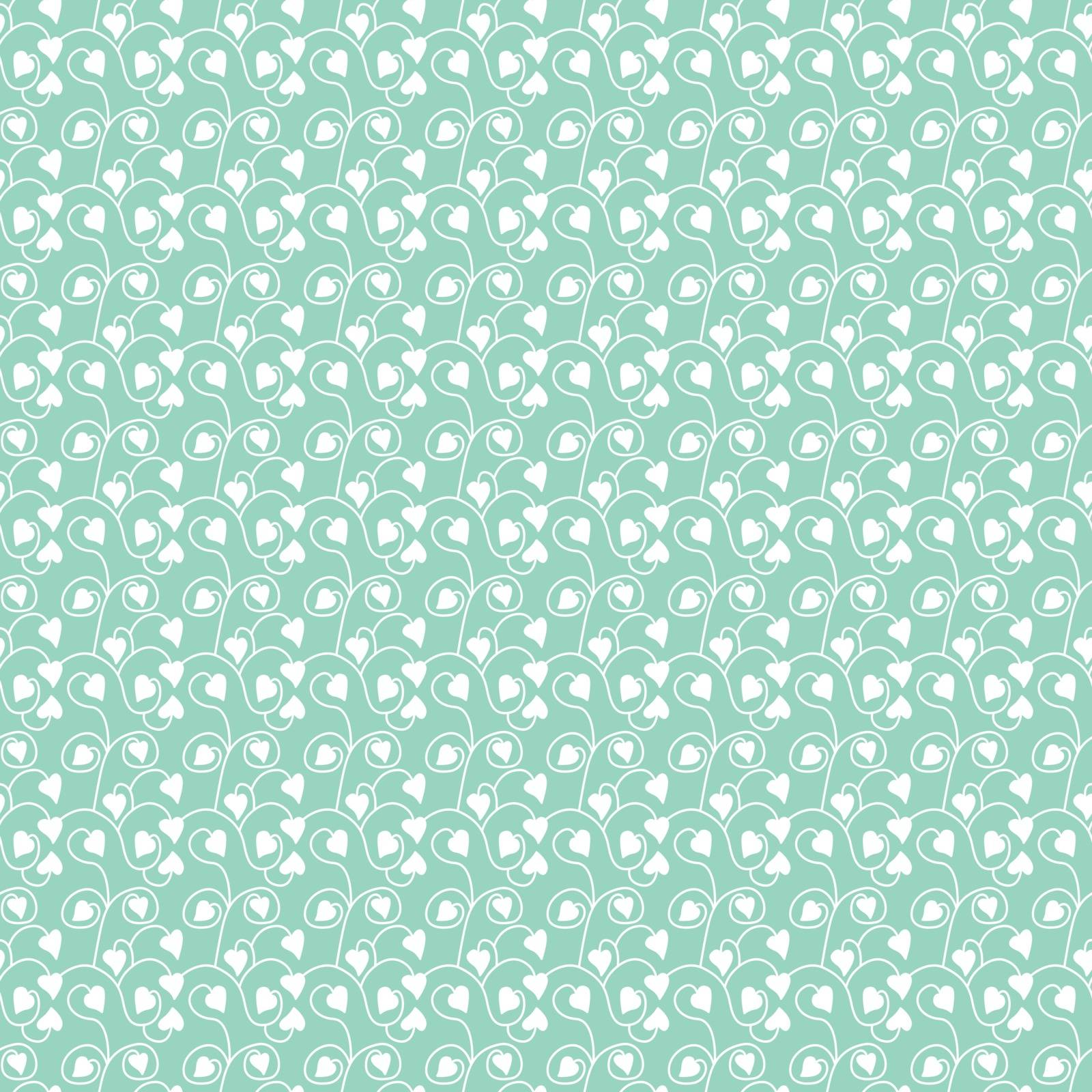 Seamless illustrated pattern made of white leaves on turquoise background