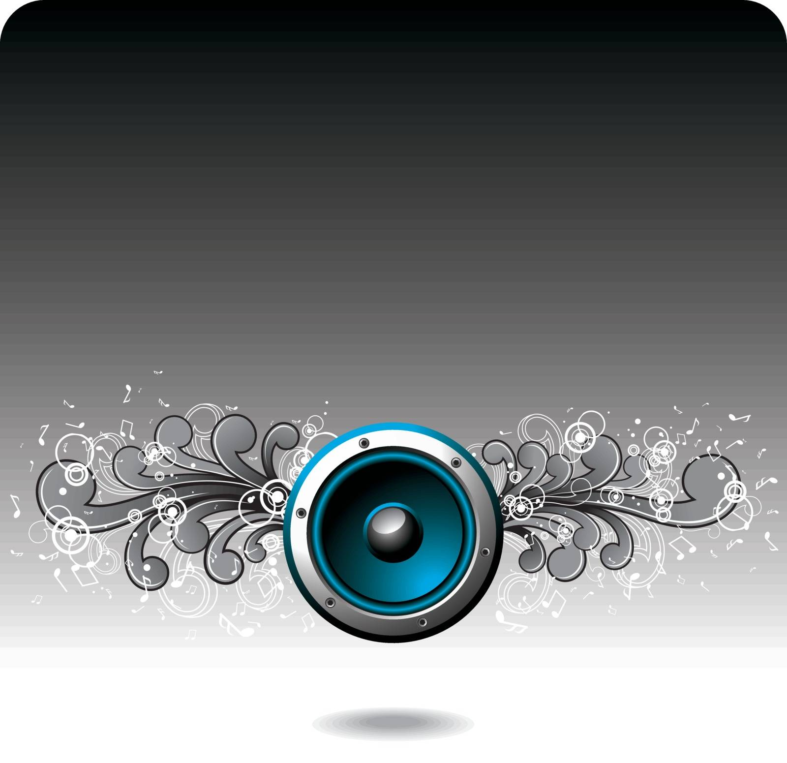Vector blue speaker with grunge floral elements.
