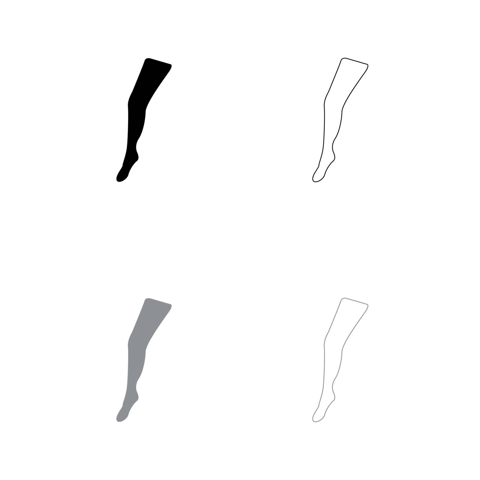 Beauty leg black and grey set icon . by serhii435