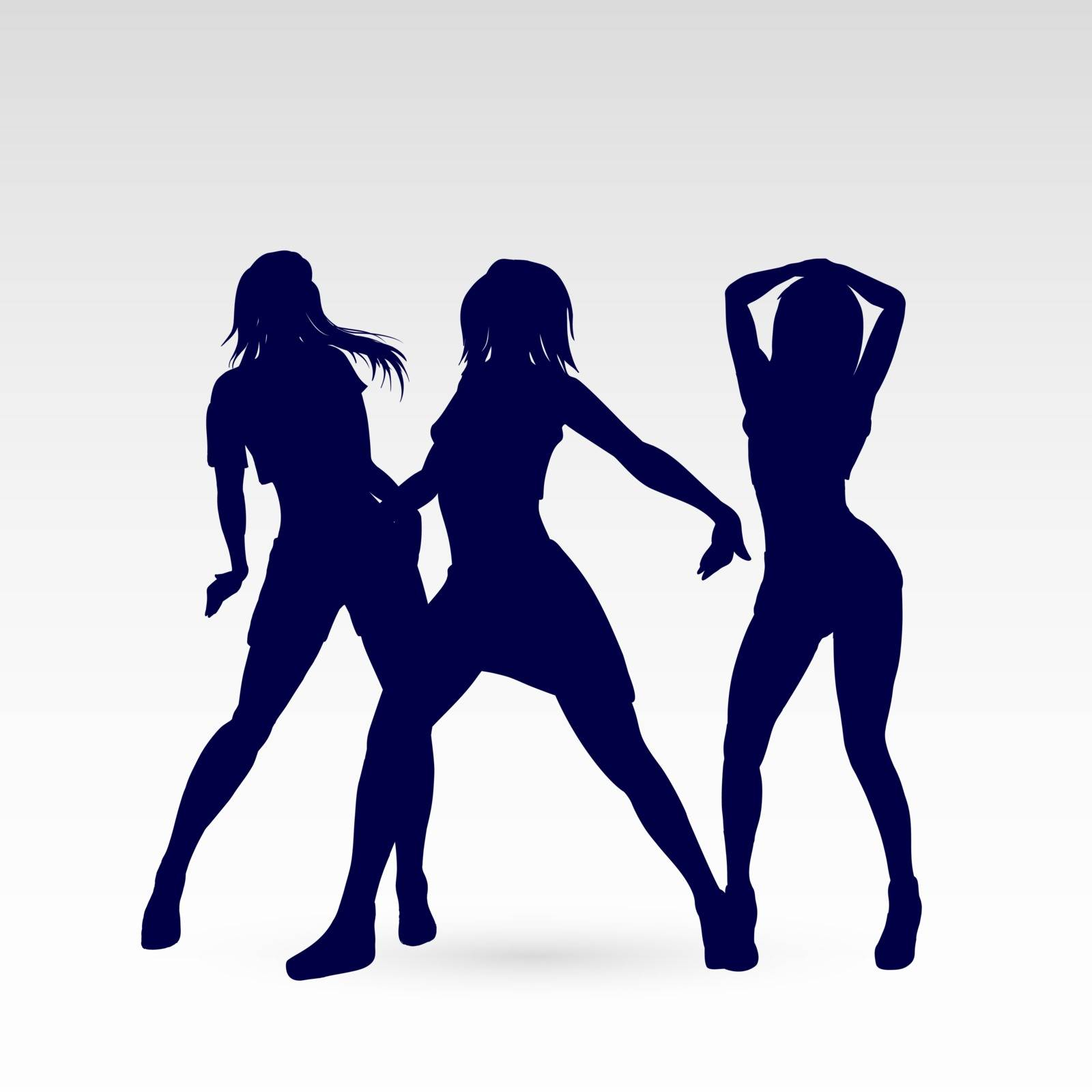 Silhouettes of Go-Go Dance Girls. Illustration Silhouettes of Womans on White Background