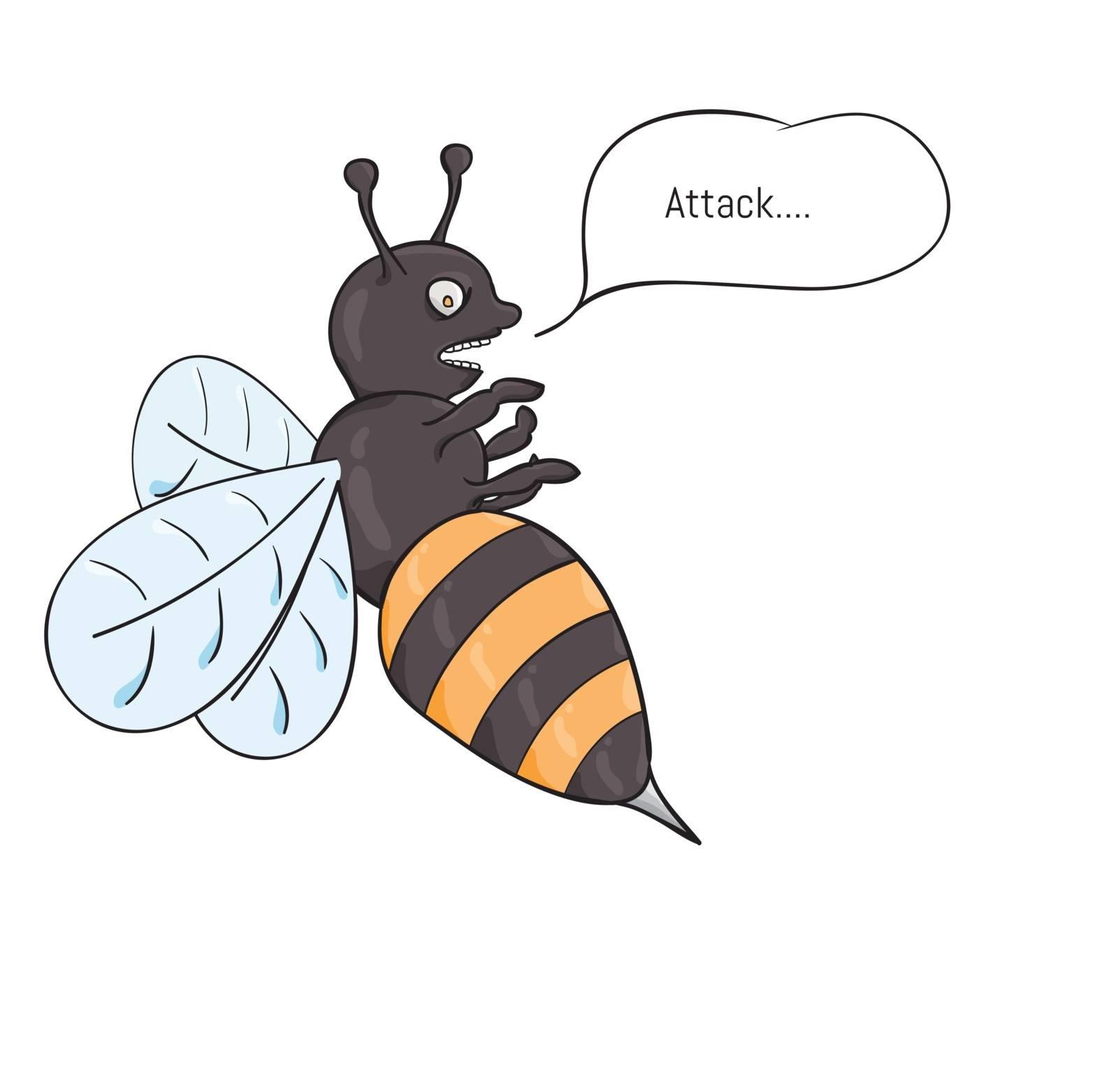 Aggressive wasp attacking with sting full of venom. Cartoon illustration.