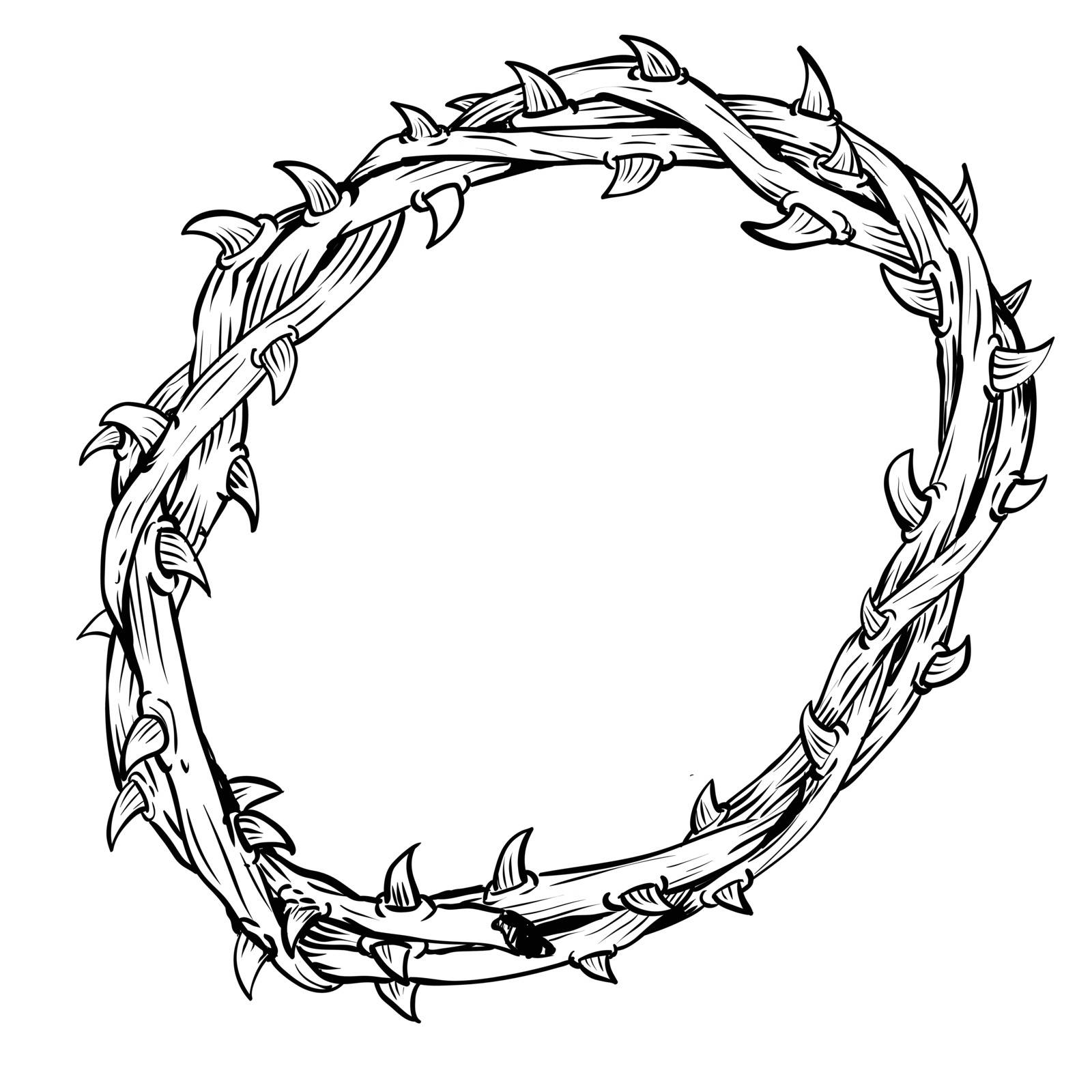 Hand drawing of Thorn Crown, isolated on white background. Black and White simple line Vector Illustration for Coloring Book - Line Drawn Vector