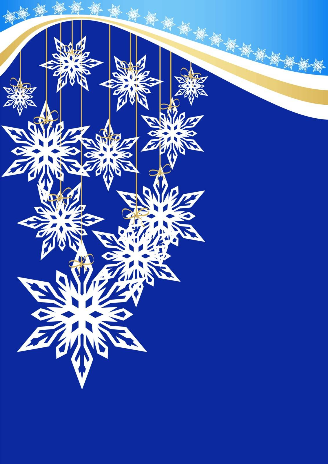 Greeting card for Christmas and New Year with snowflakes and place for text