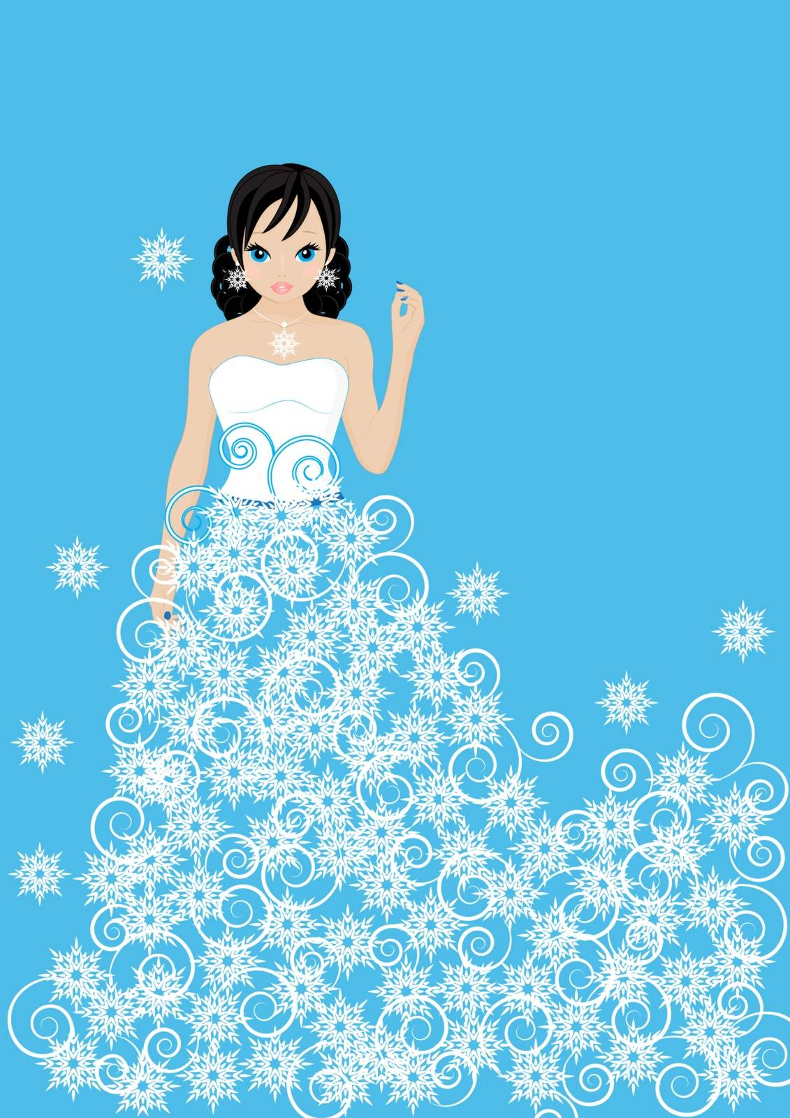 girl snow Queen in a dress made of snowflakes on blue background