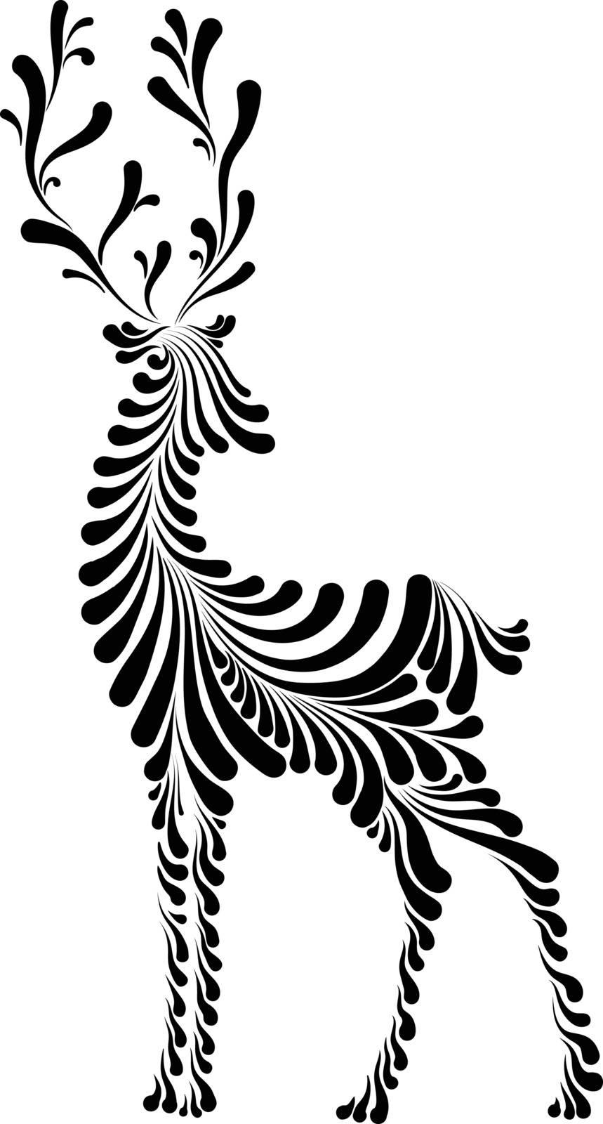 christmas deer of Santa Claus, stylized vector illustration