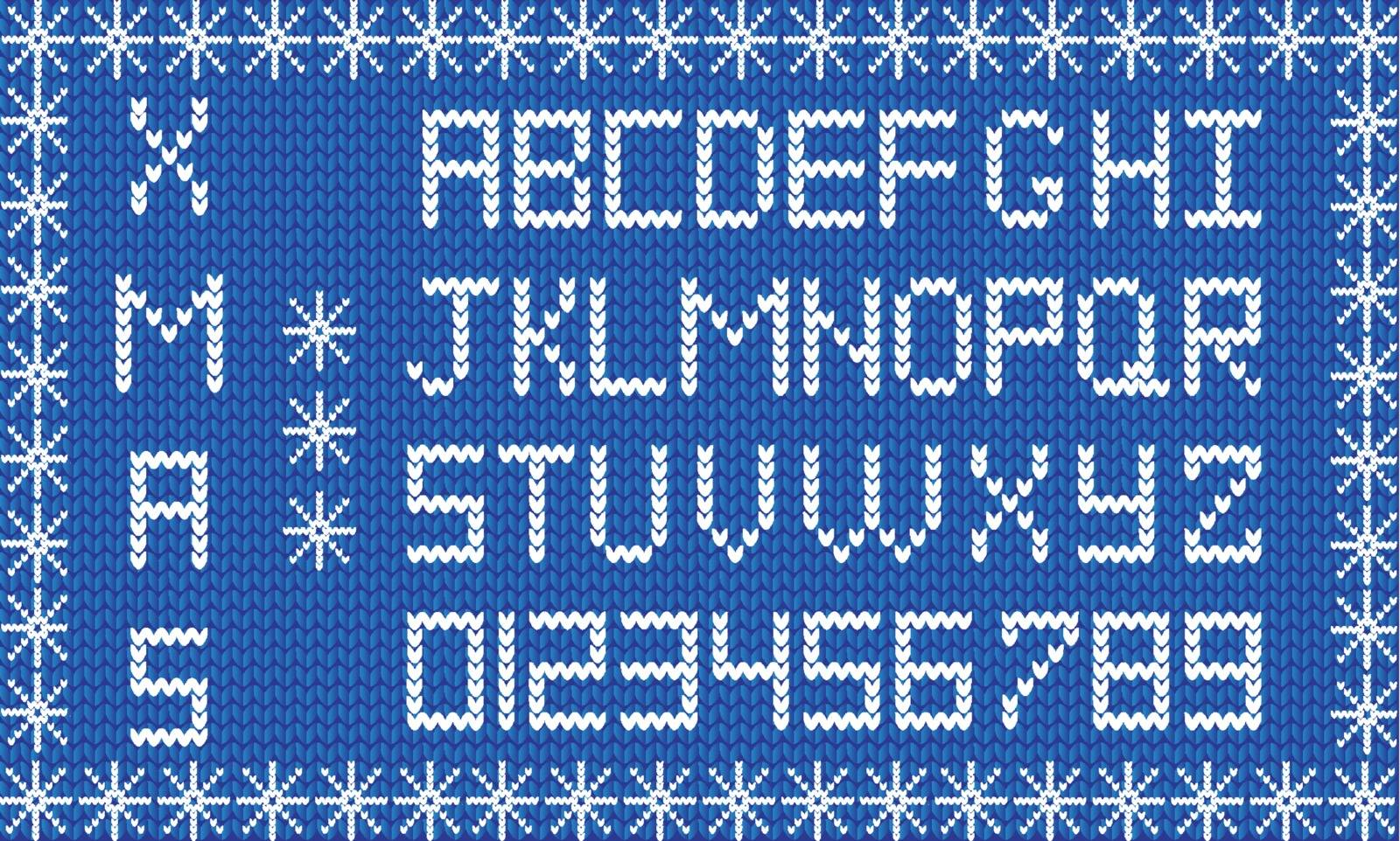 Knit new year or christmas alphabet framed with snowflakes. New year navy blue background with white knitted alphabet. Fabric Christmas or New Year script. Vector knit font, signs, symbols, numerals.