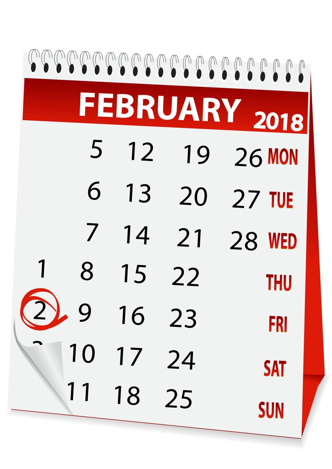 icon in the form of a calendar for Groundhog day 2018
