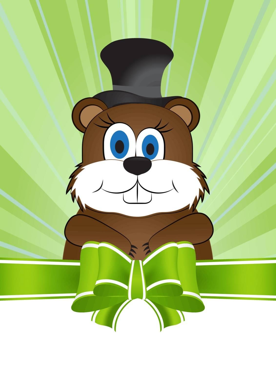 greeting card on Groundhog day with the image of the animal Groundhog