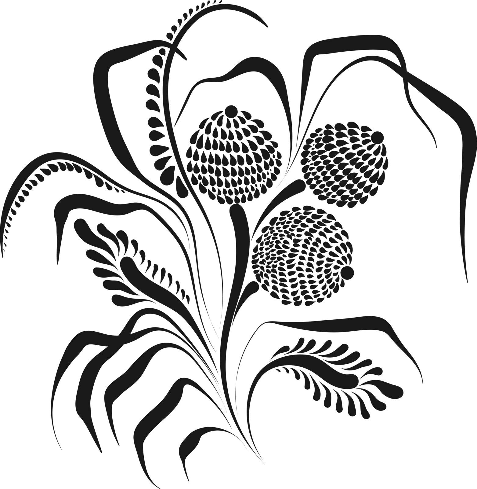 Graphic vector flowers isolated on white background