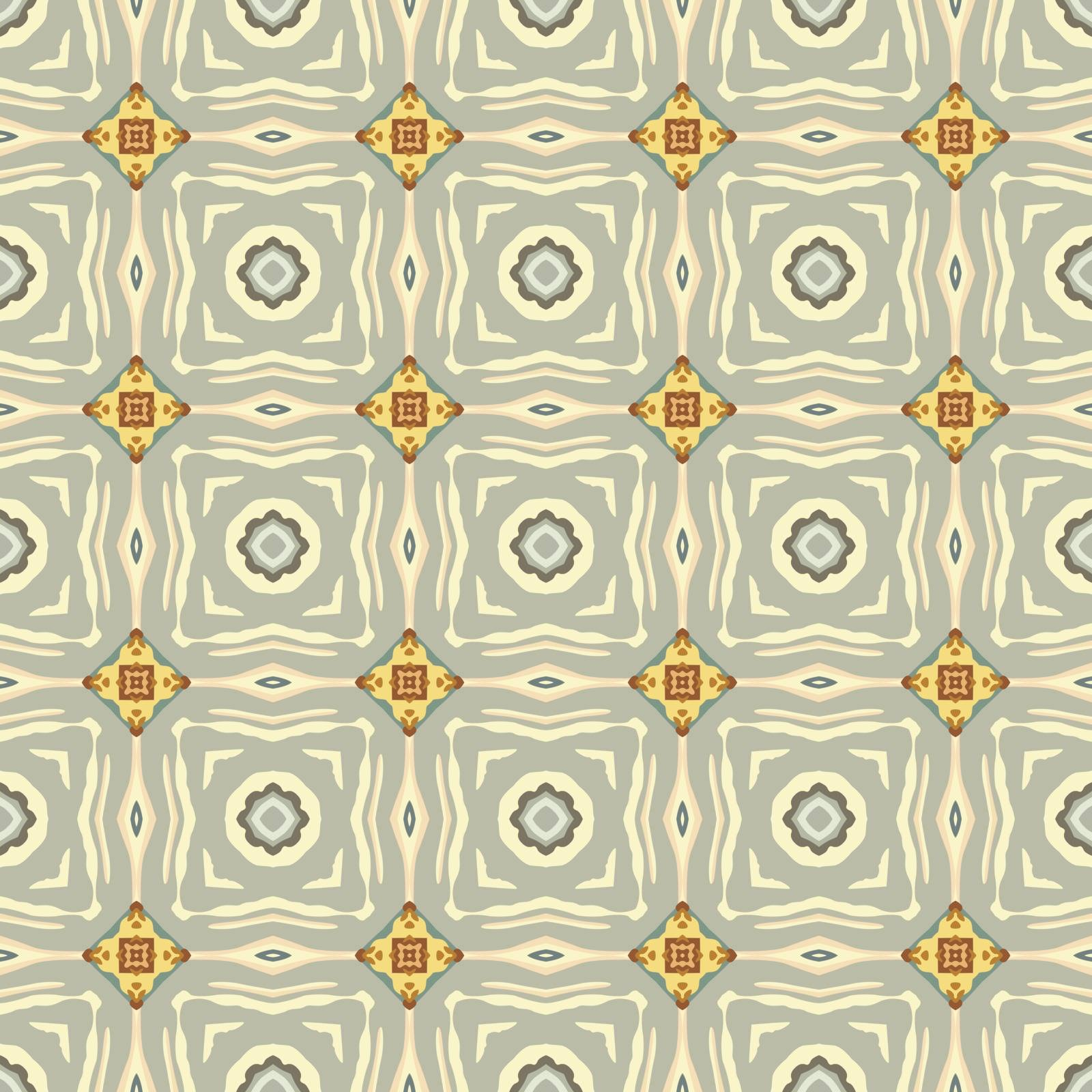Seamless illustrated pattern made of abstract elements in beige, gray, turquoise, yellow and brown