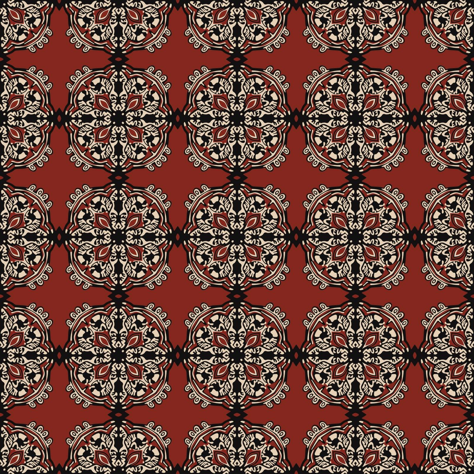 Seamless illustrated pattern made of abstract elements in beige,red and black