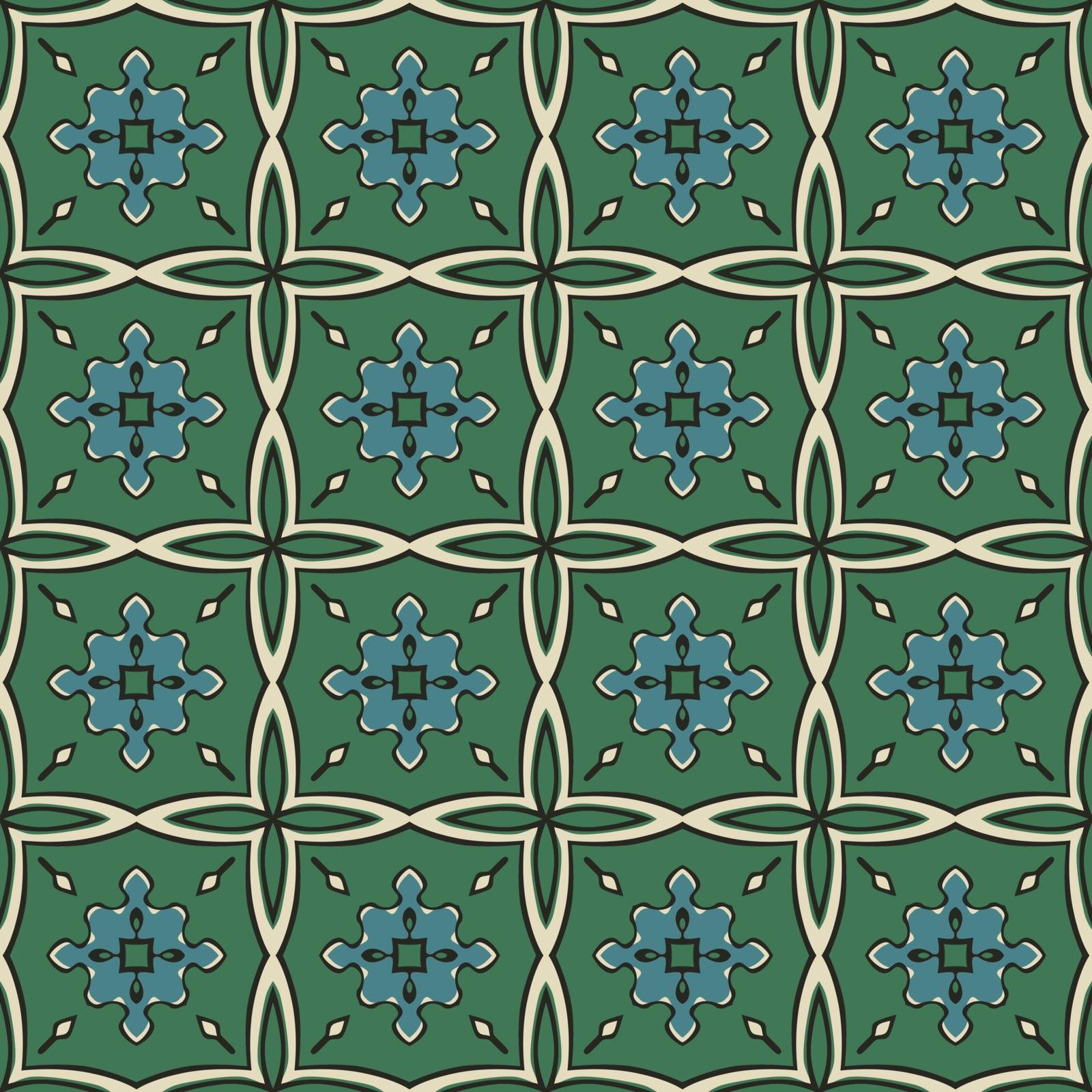Seamless illustrated pattern made of abstract elements in beige,turquoise, green and black