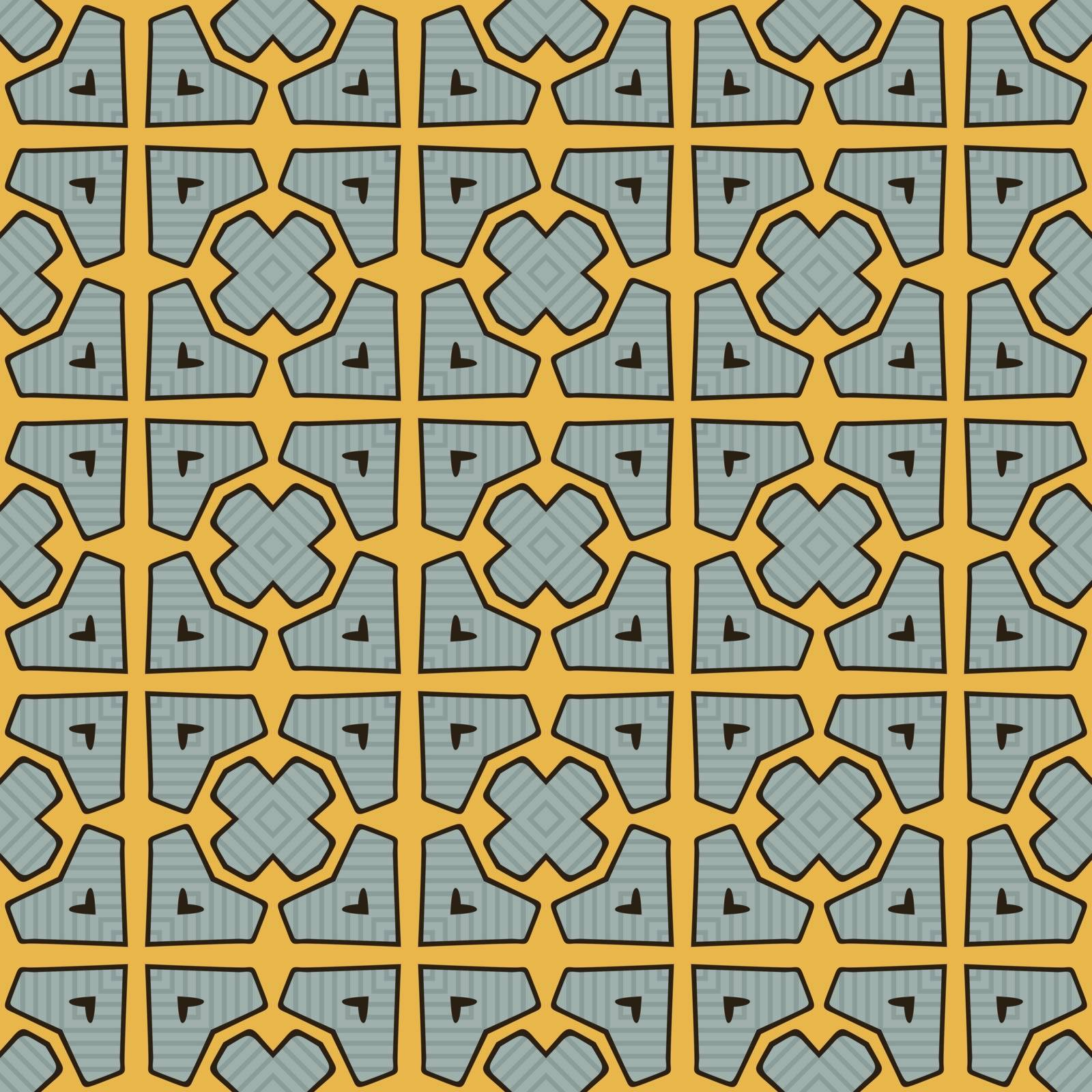 Seamless illustrated pattern made of abstract elements in turquoise, orange and black