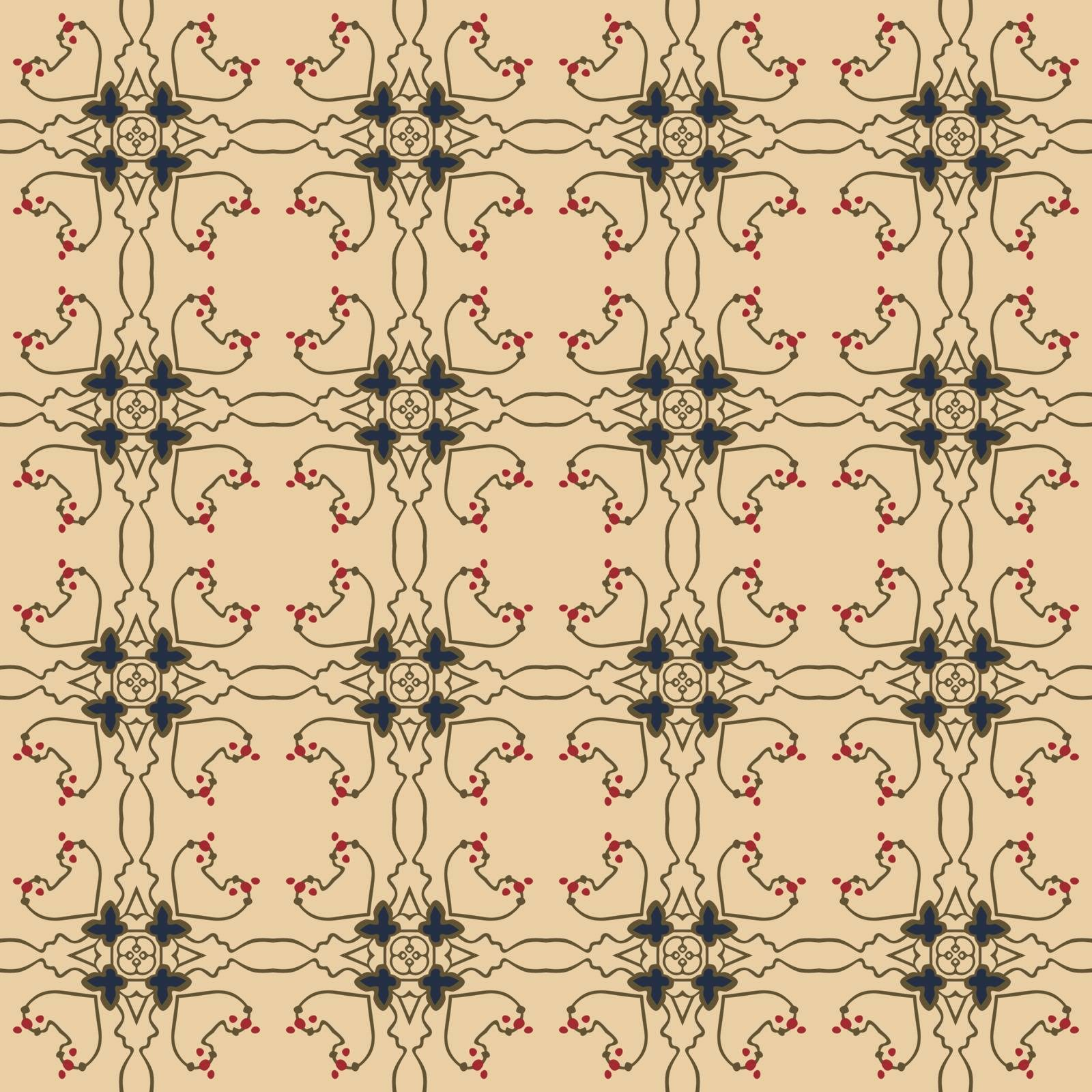 Seamless illustrated pattern made of abstract elements in beige, blue,  red and brown