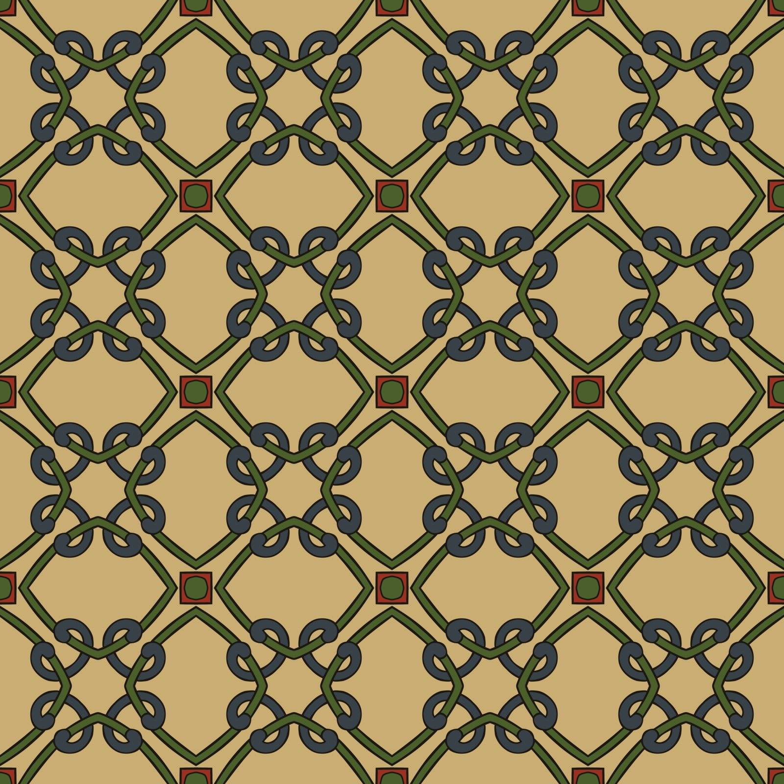 Seamless illustrated pattern made of abstract elements in beige, green, blue, red and black