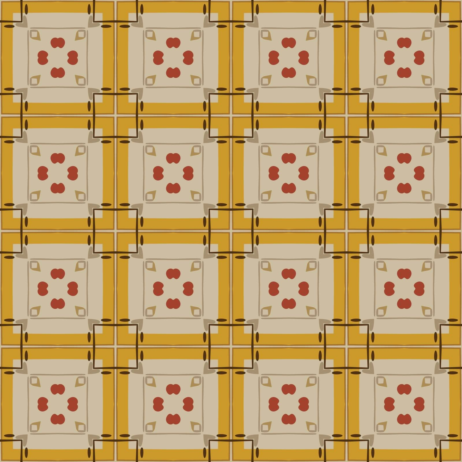 Seamless illustrated pattern made of abstract elements in beige,orange, gray and brown