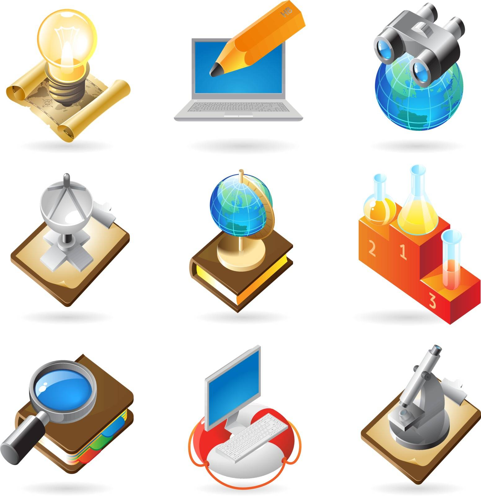 Vector concept icons for science. Illustrations for document, article or website.