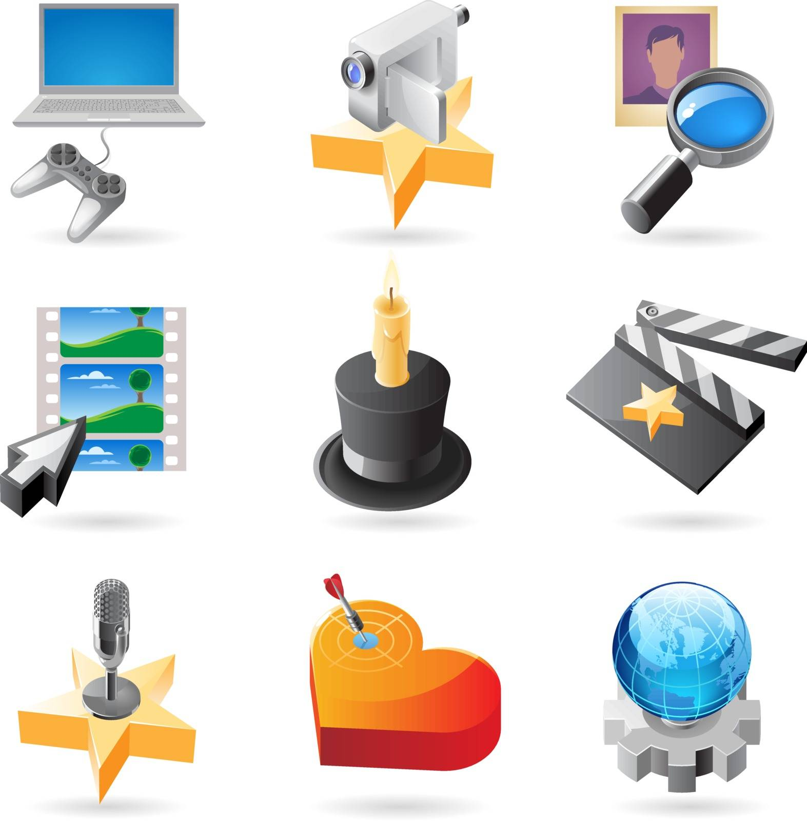 Vector concept icons for media. Illustrations for document, article or website.