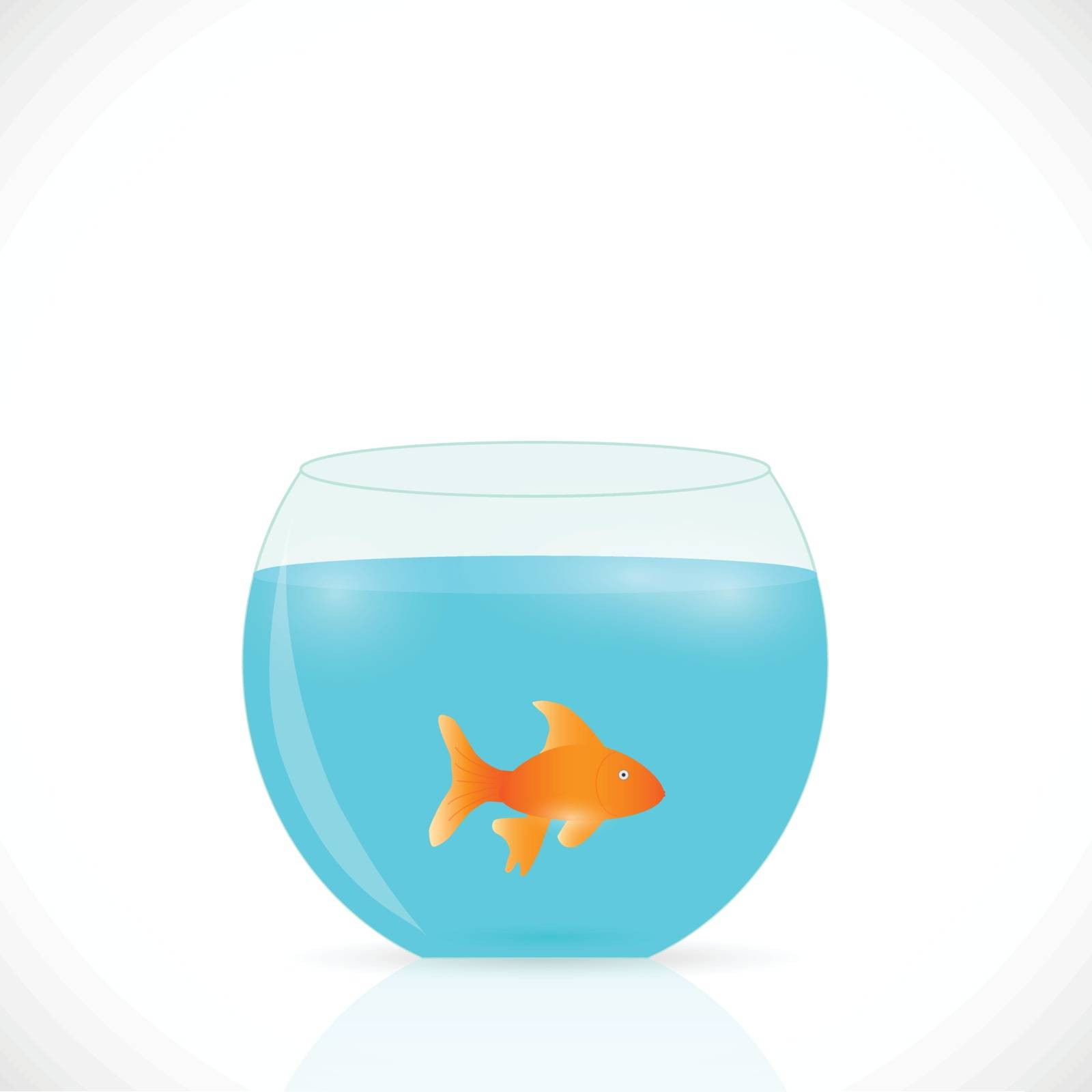 Illustration of a goldfish in a bowl isolated on a white background.