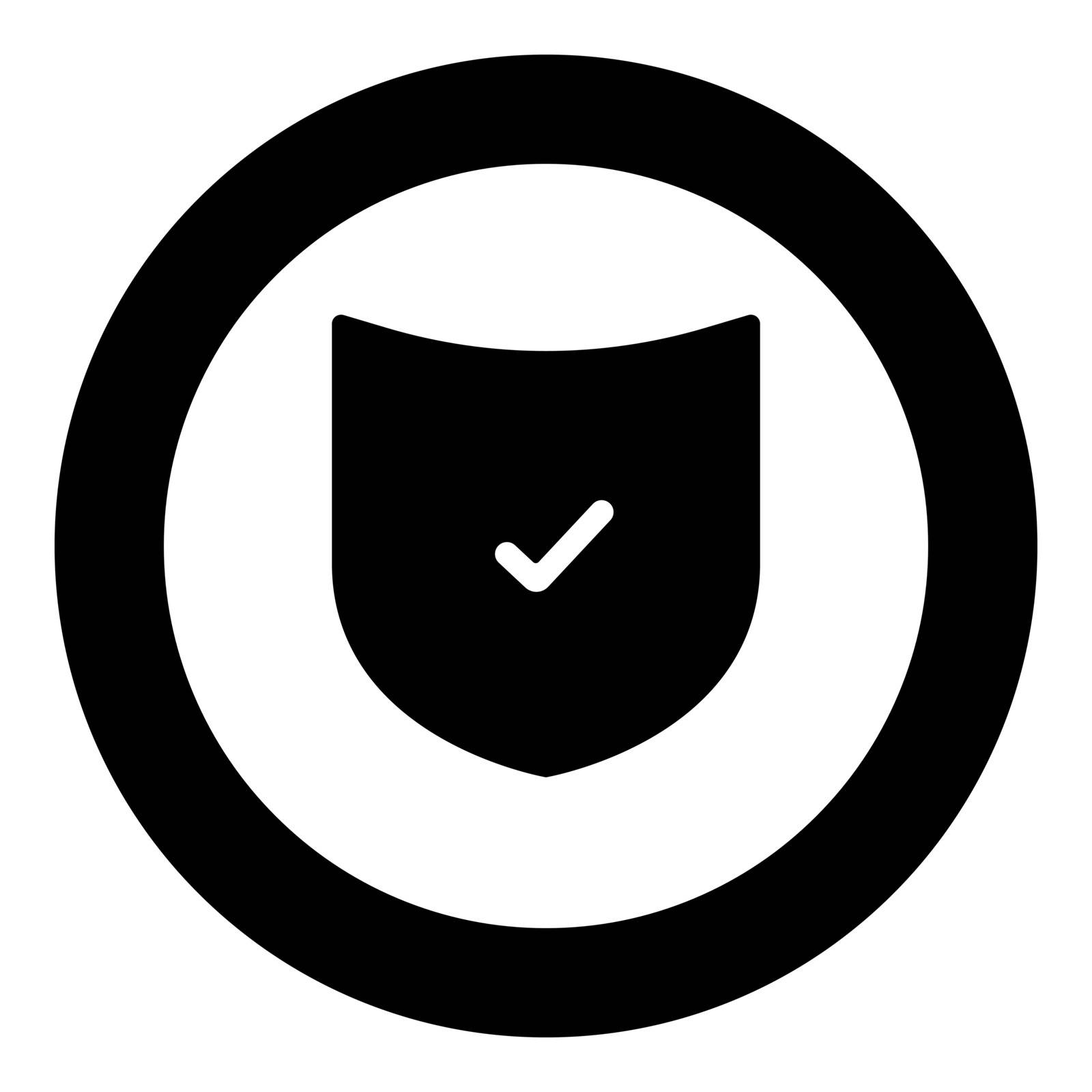 Shield the black color icon  in circle or round vector illustration
