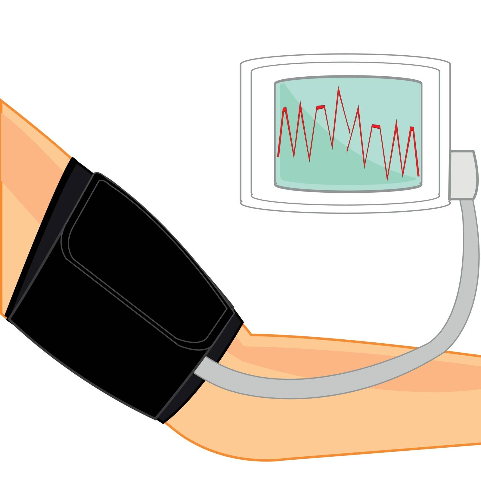 Hand of the person and instrument for measurement of the arterial pressure