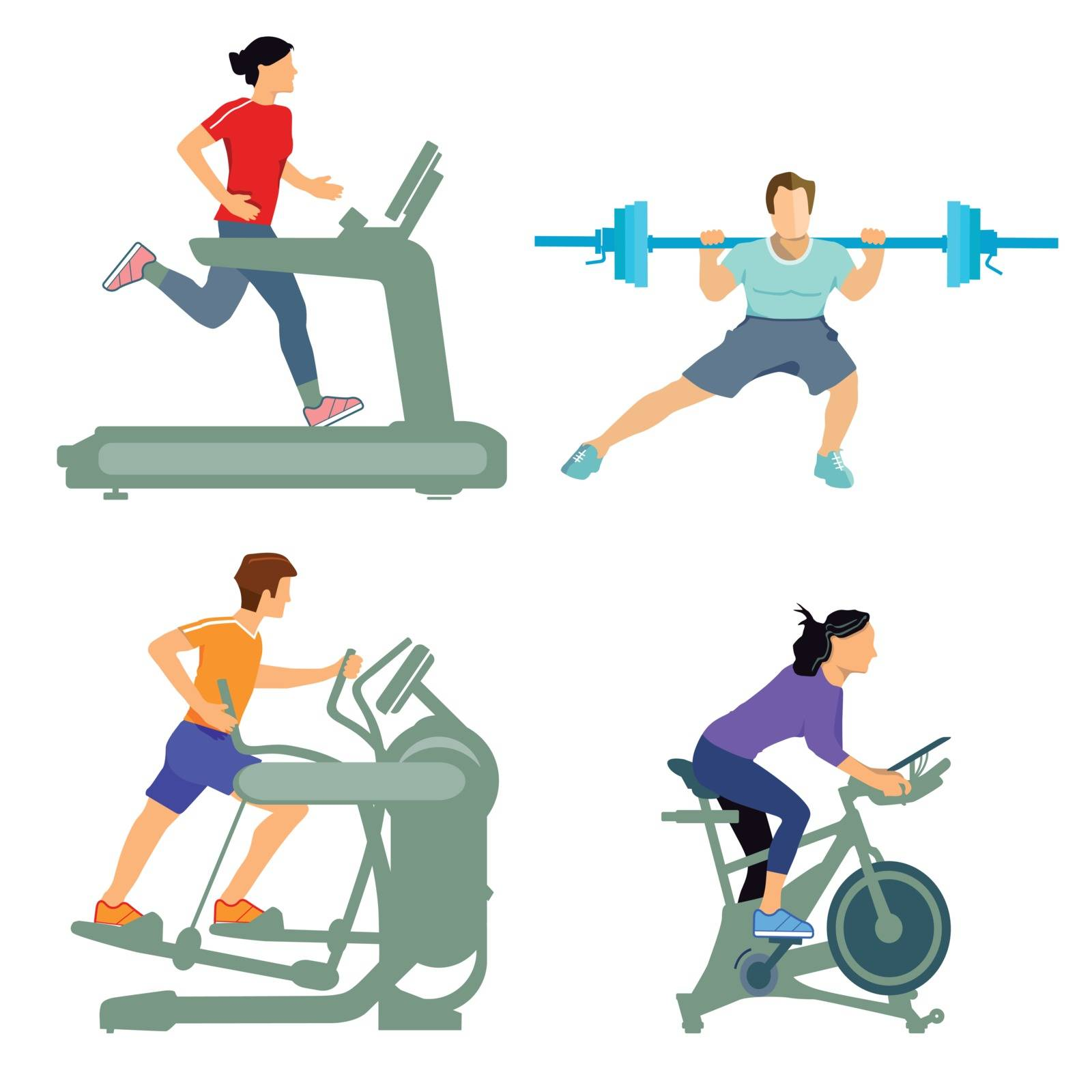 Gym with fitness equipment by scusi