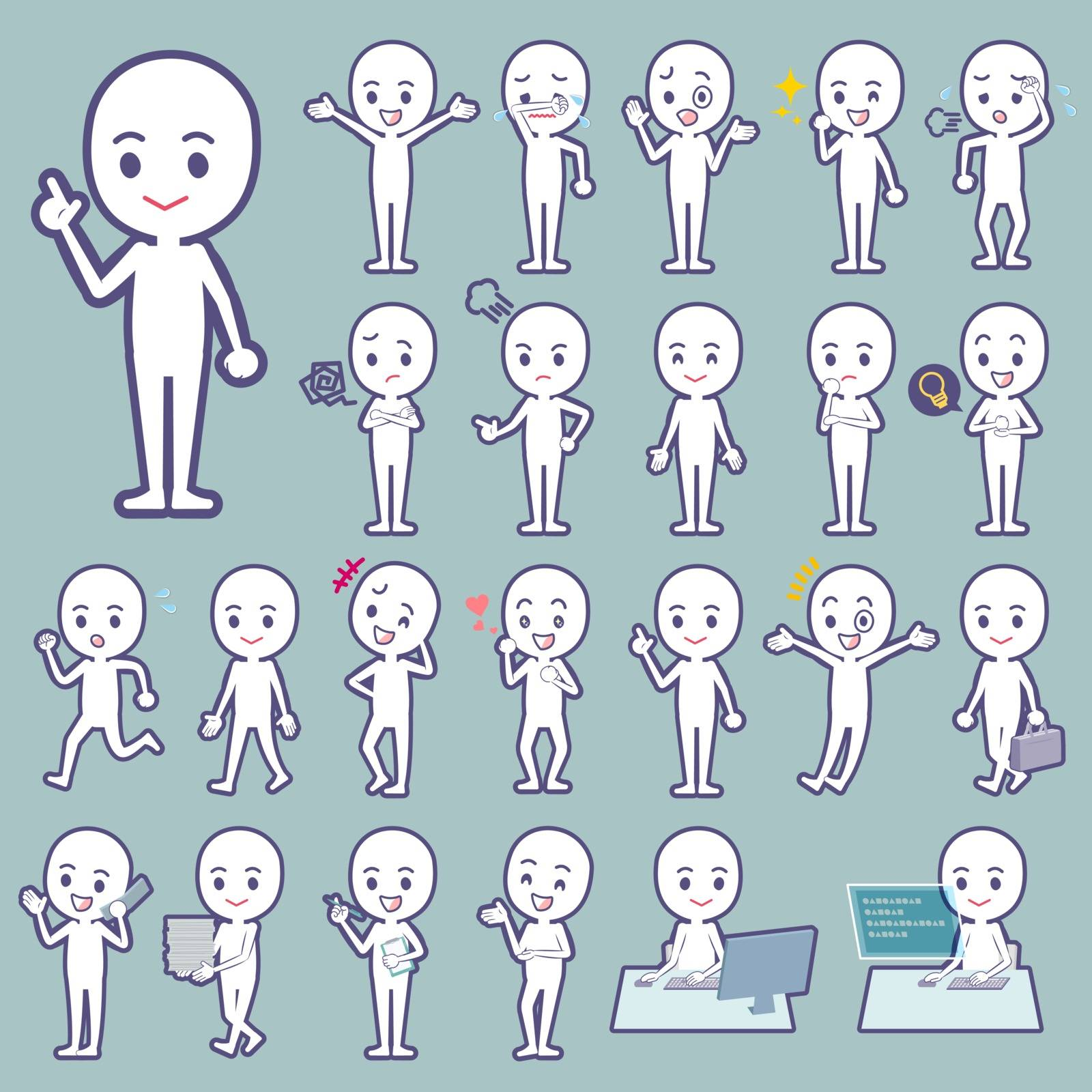 Set of various poses of Stick figure people