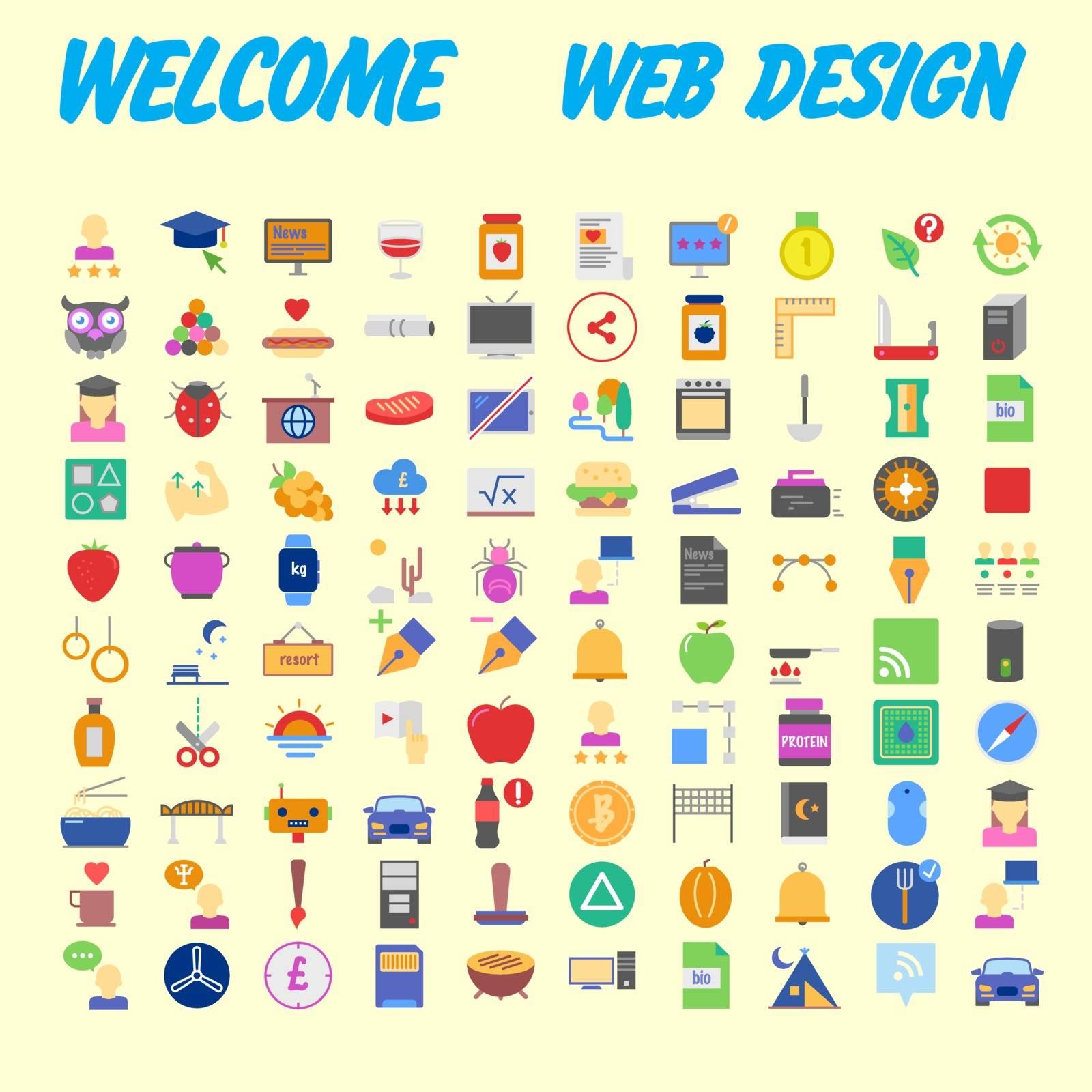 Set of 100 Isolated Minimal Modern Simple Elegant colorful Icons. Vector illustration