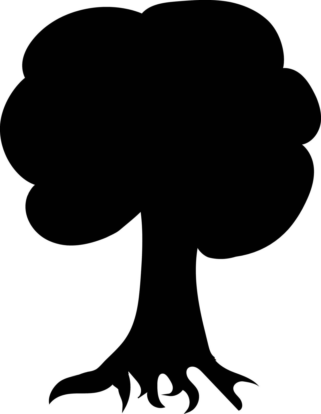 Vector illustration of a silhouette of a tree. Natural illustration.