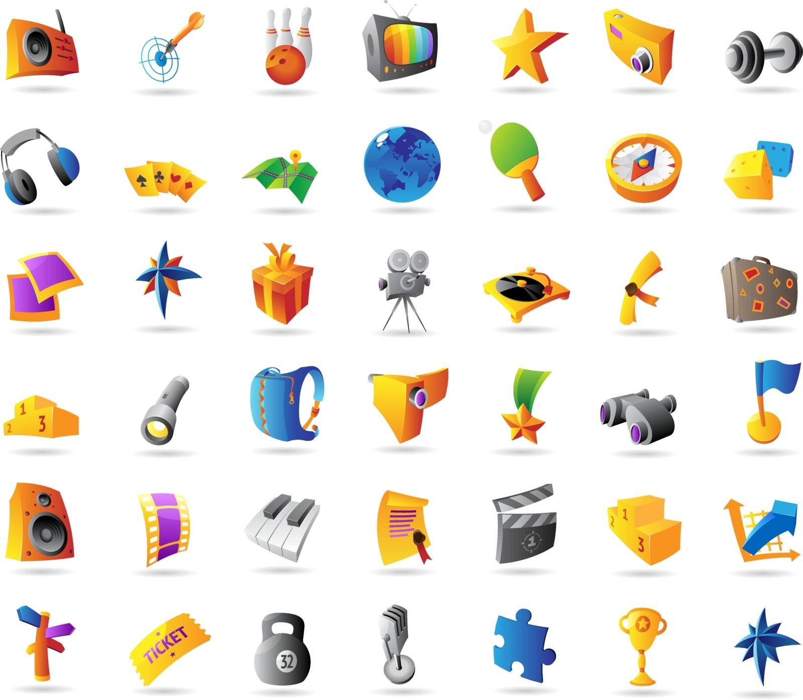 Icons for sport, travel, leisure and entertainment. Vector illustration.