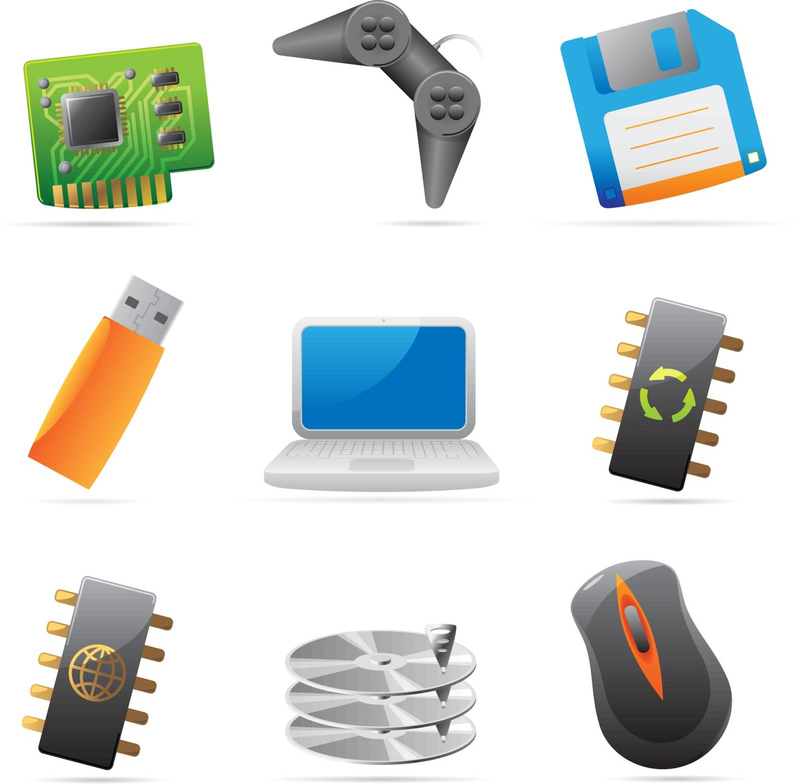 Icons for computer and computer parts. Vector illustration.