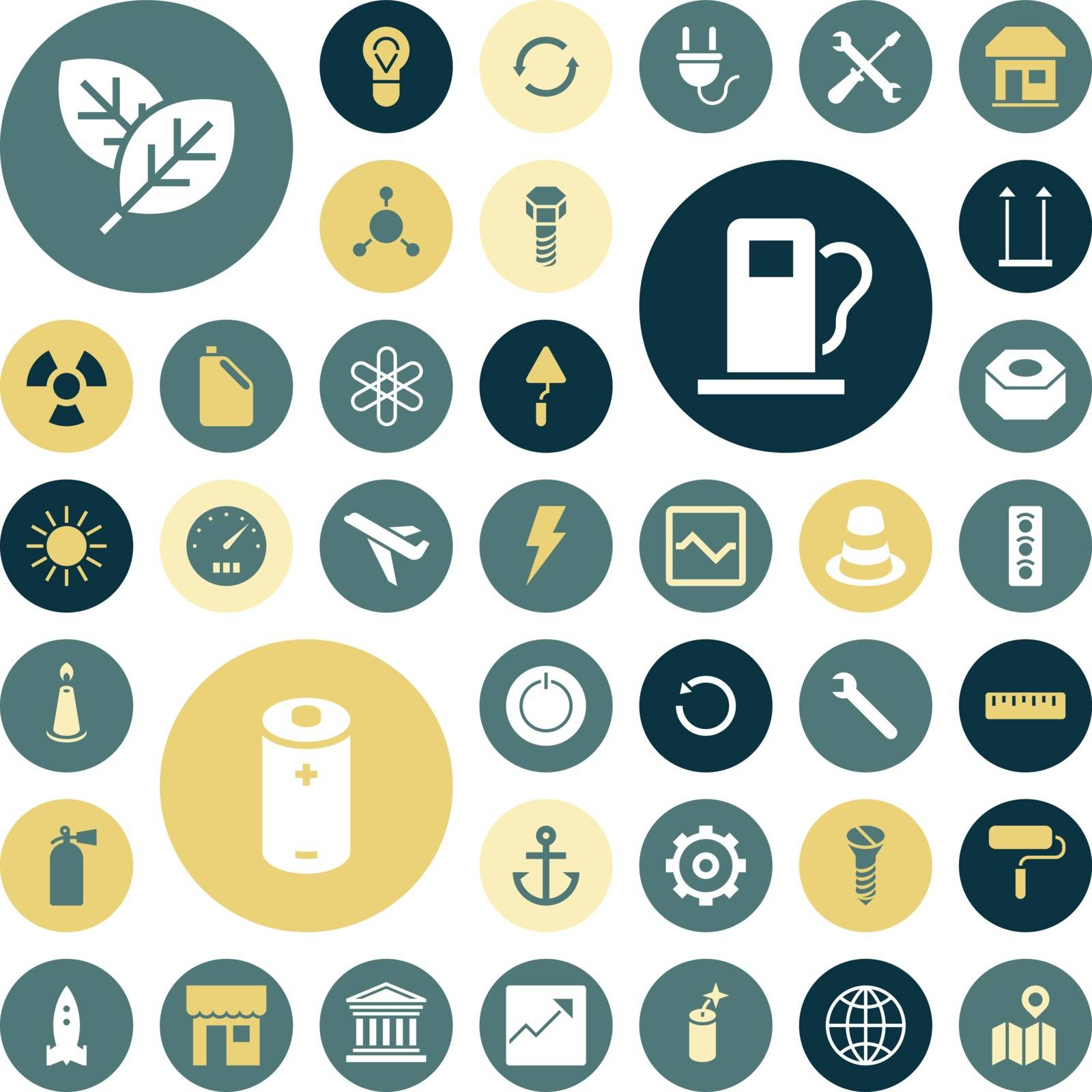 Flat design icons for industrial, energy and ecology. Vector illustration.