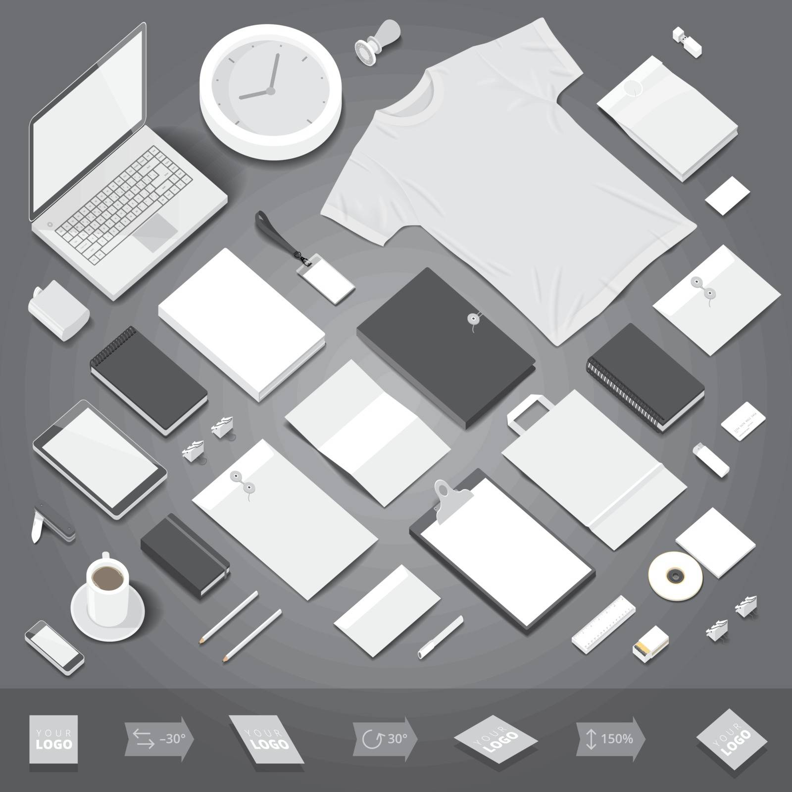 Corporate identity stationery objects mock-up template. Isometric style. Vector illustration.