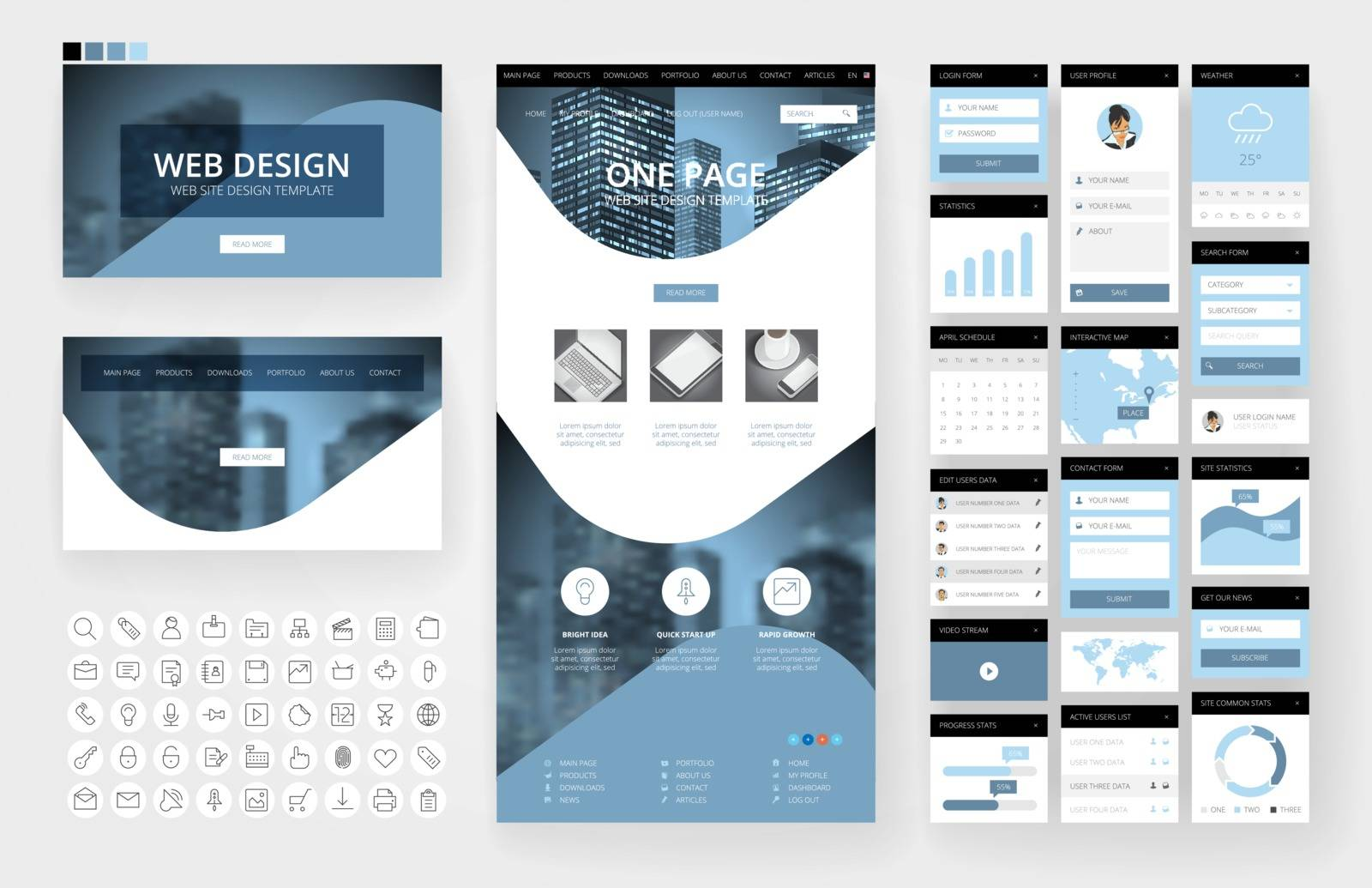 Website template, one page design, headers and interface elements. Business city backgrounds.