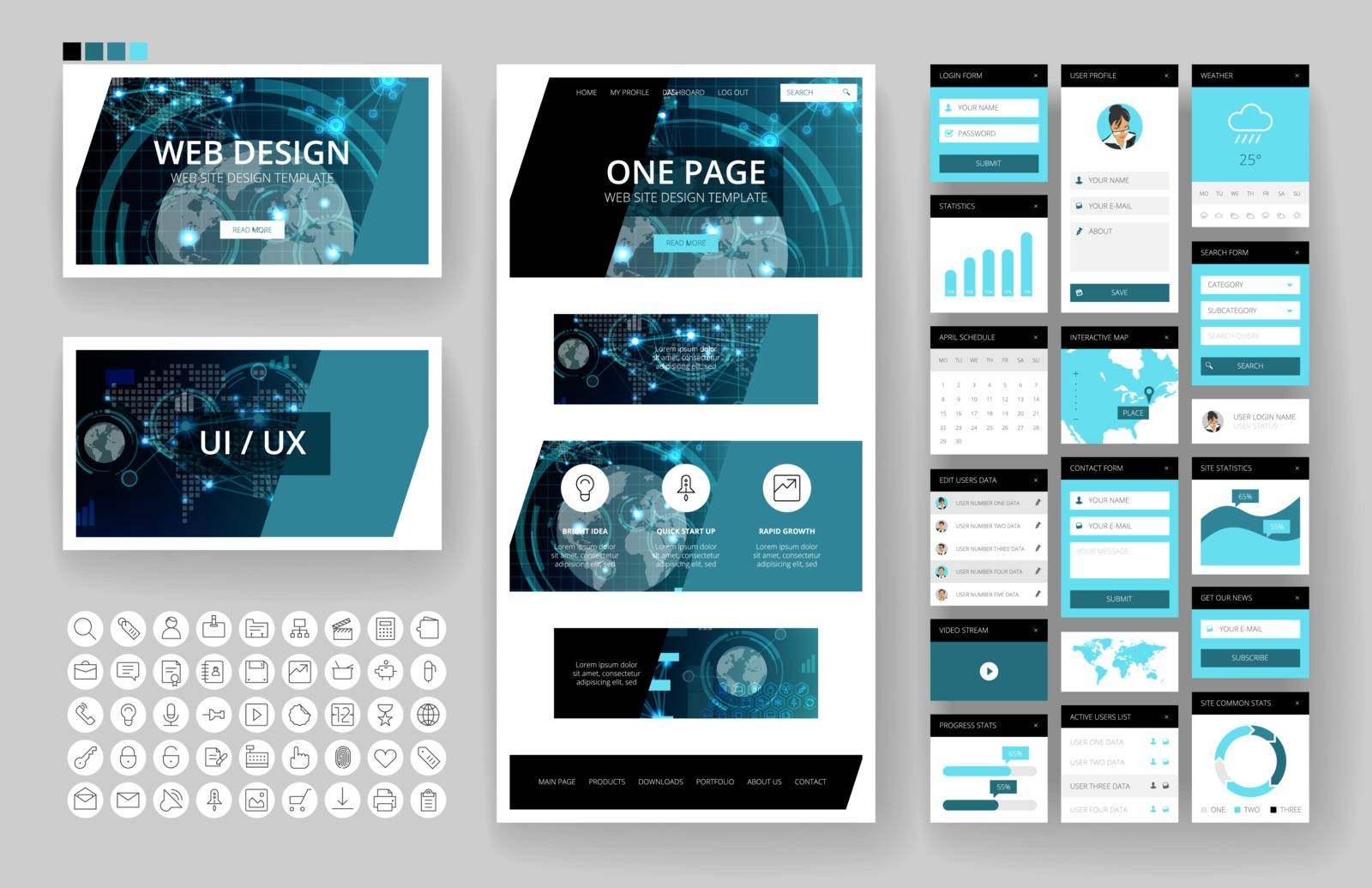 Website template, one page design, headers and interface elements. Technology HUD global connections backgrounds.