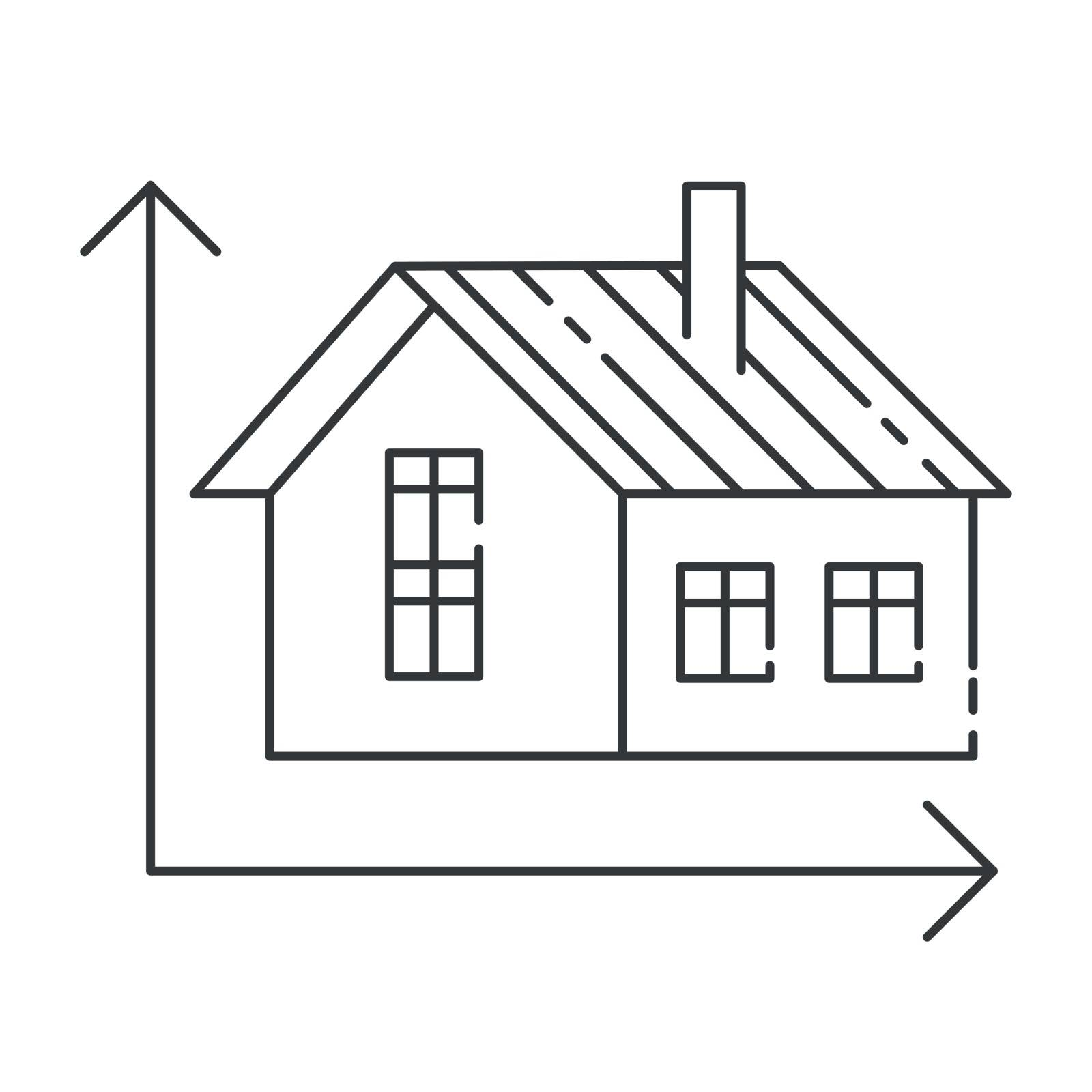 Vector illustration of modern icon depicting a home measurement concept. High quality black outline logo for web site design and mobile apps. Vector illustration on a white background.