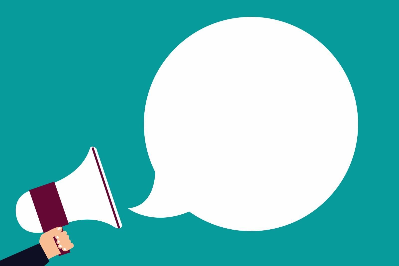 Flat design business illustration concept Digital marketing business holding megaphone for website and promotion banners. Cartoon human hand holding megaphone. social media concept
