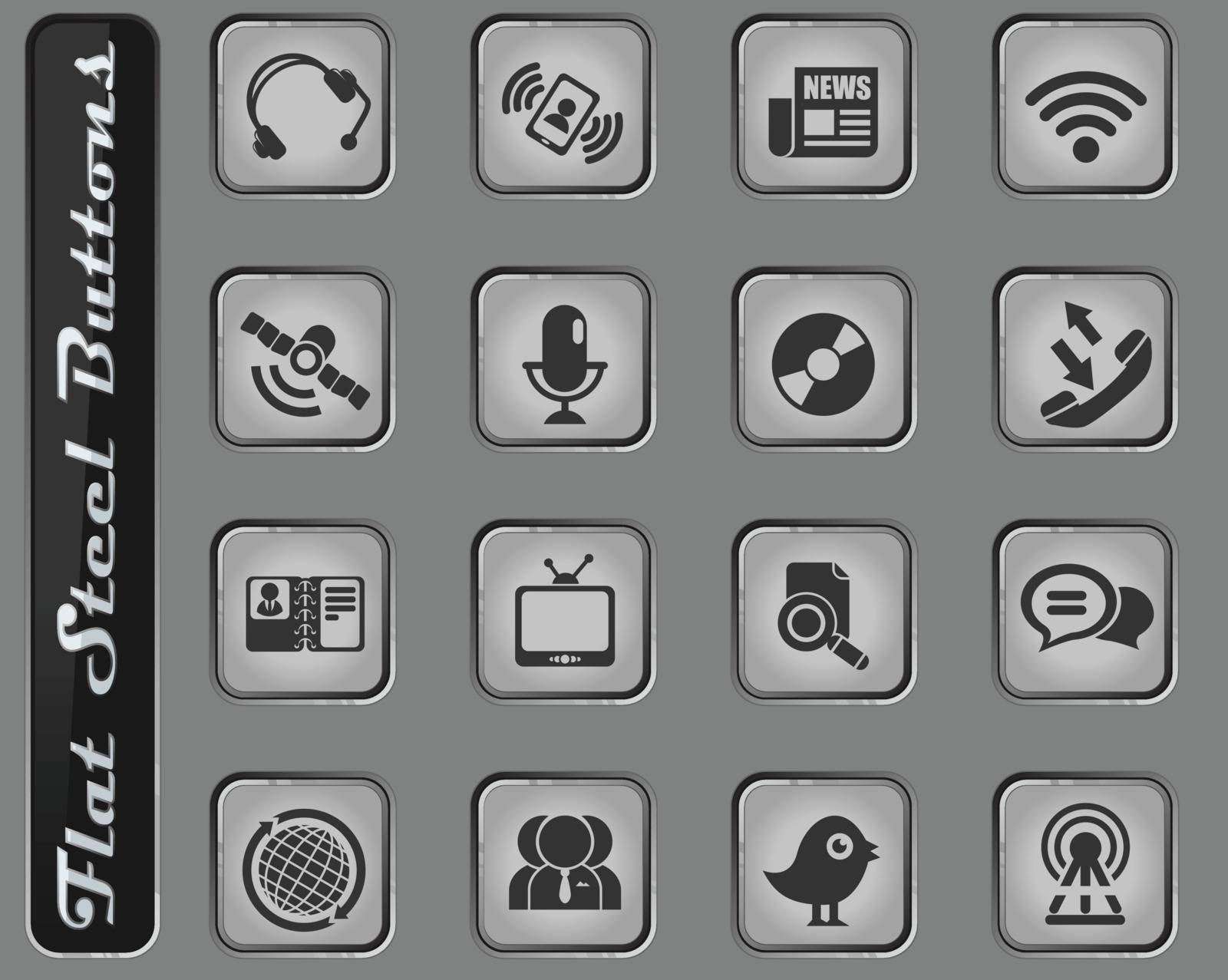 Communication web icons on the flat steel buttons
