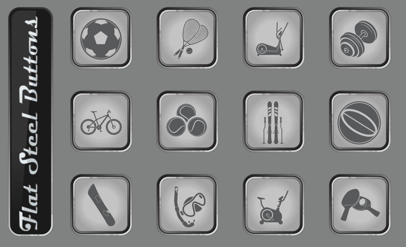 Sport equipment vector web icons on the flat steel buttons