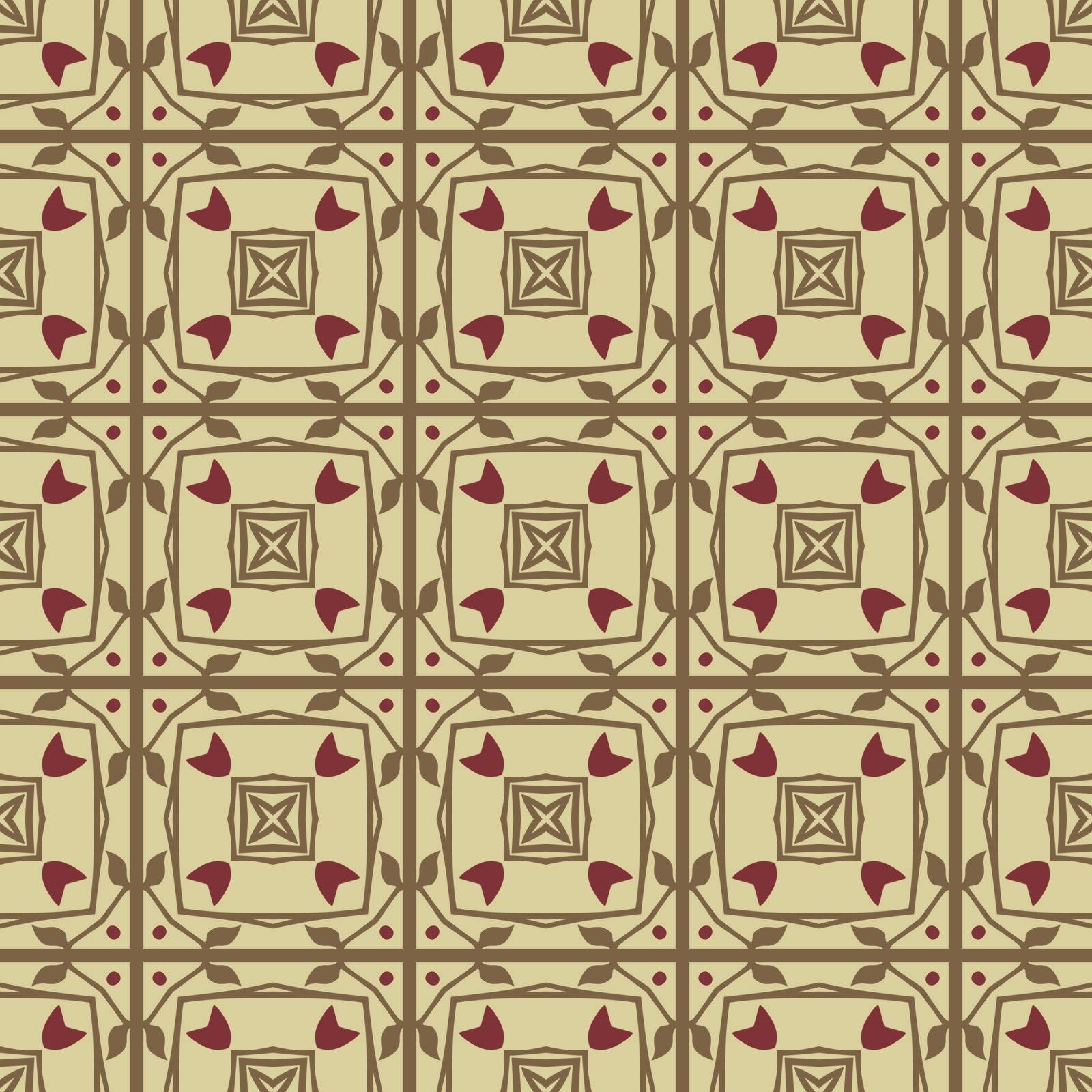 Seamless illustrated pattern made of abstract elements in beige, brown and dark red