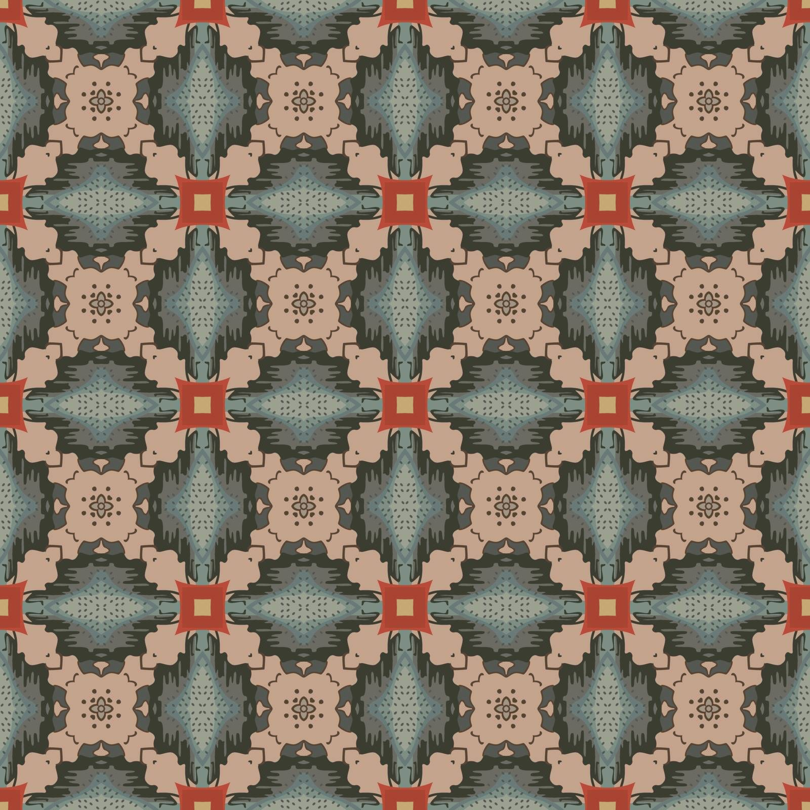 Seamless illustrated pattern made of abstract elements in beige, red, yellow, brown and gray