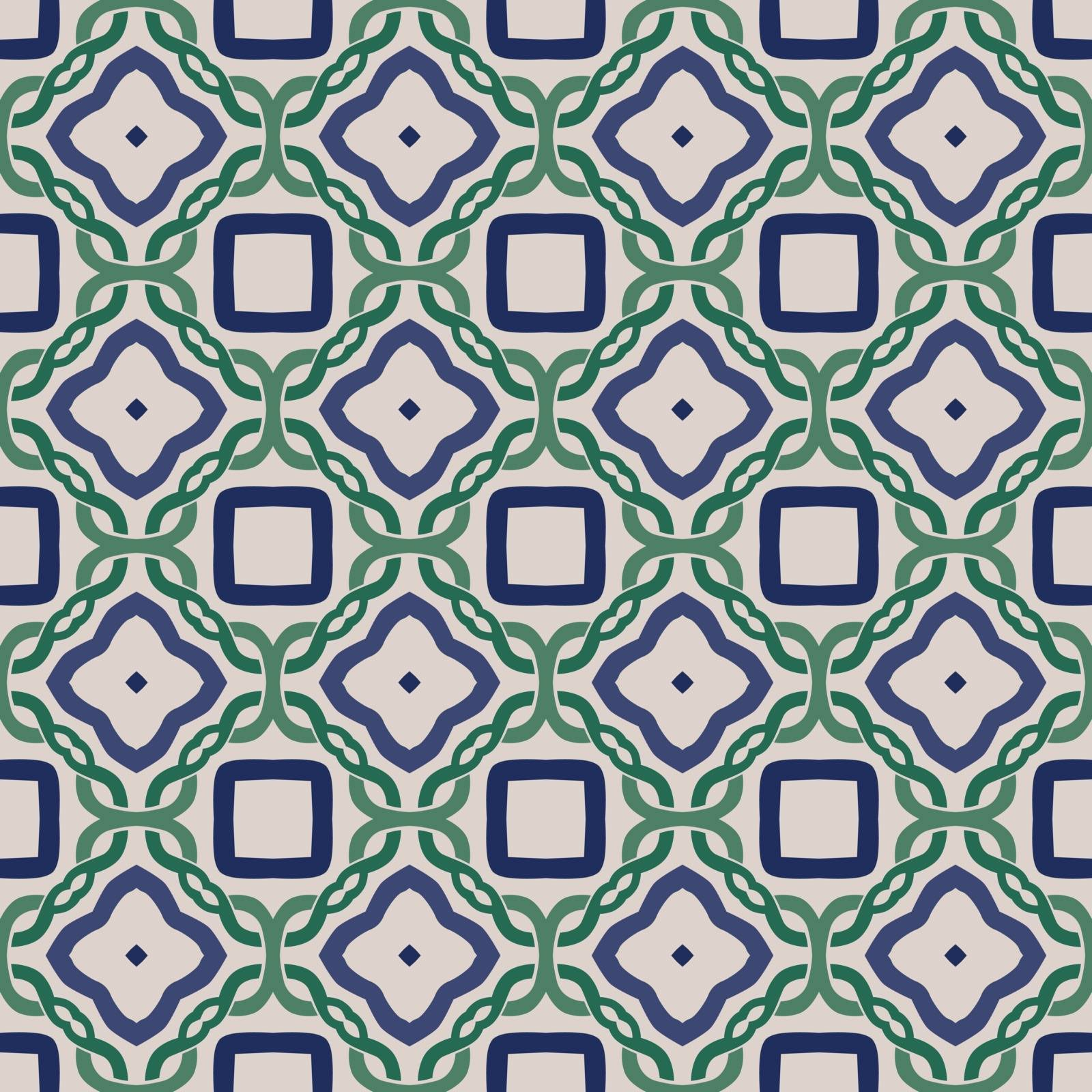 Seamless illustrated pattern made of abstract elements in beige, blue and green