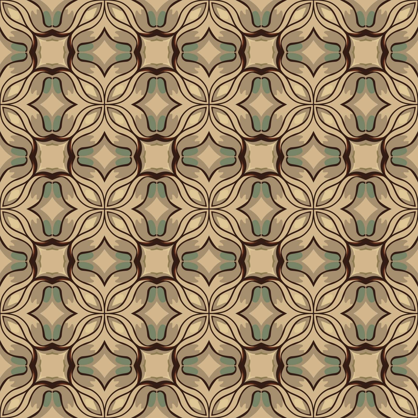 Seamless illustrated pattern made of abstract elements in beige, gray, turquoise and brown