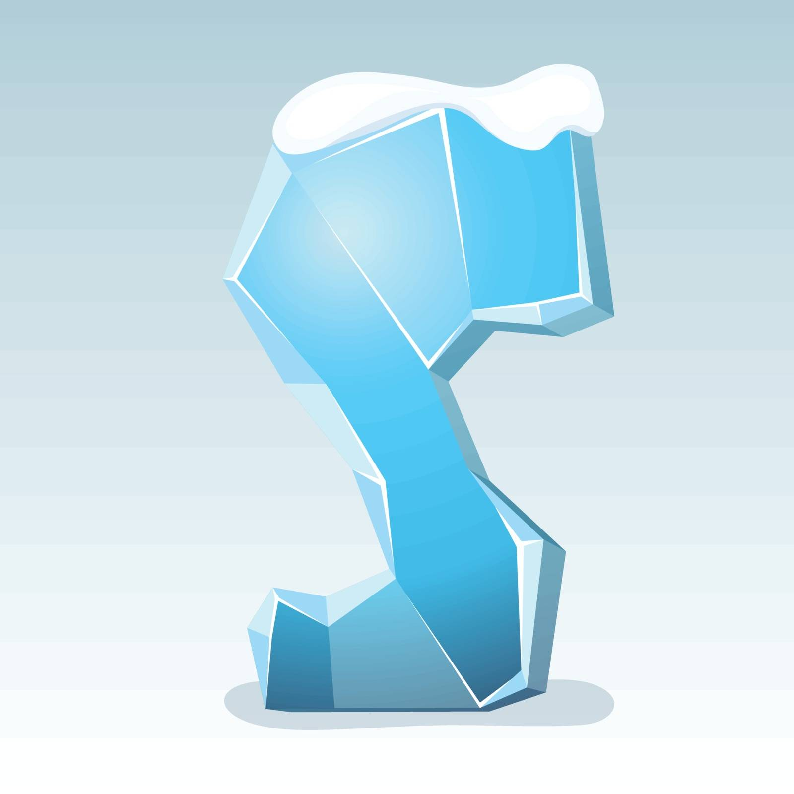 Ice letter S with snow on the top, vector font