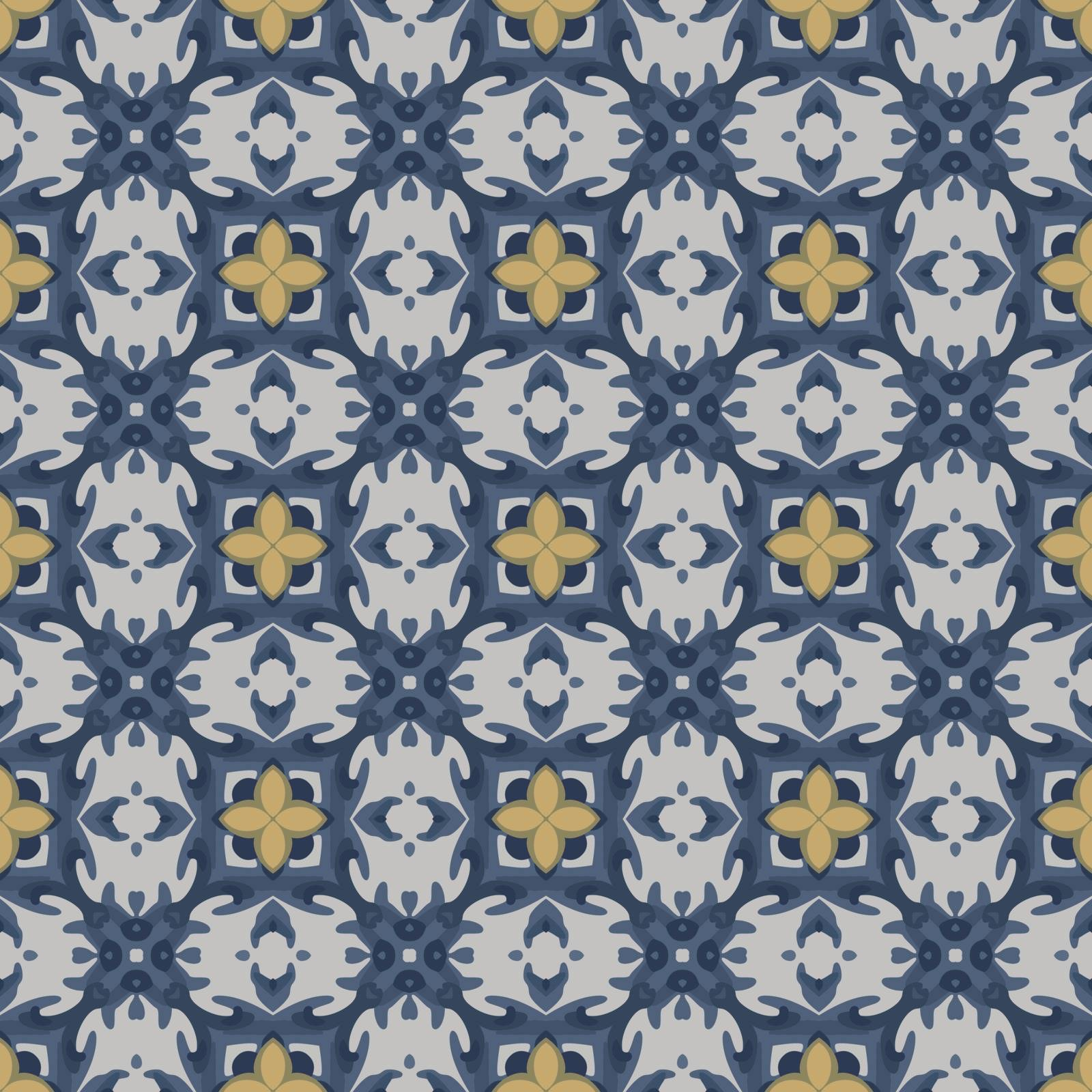 Seamless illustrated pattern made of abstract elements in white, yellow and blue