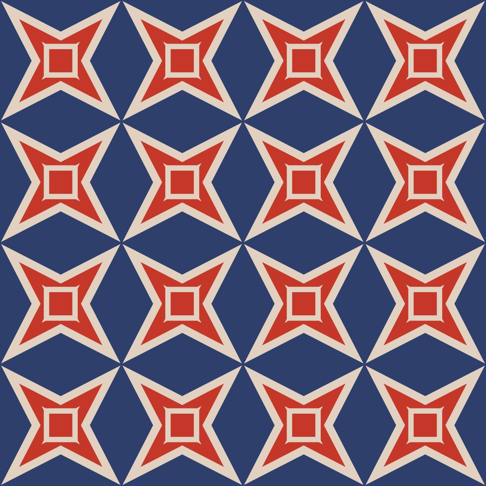 Seamless illustrated pattern made of abstract elements in beige, red and blue