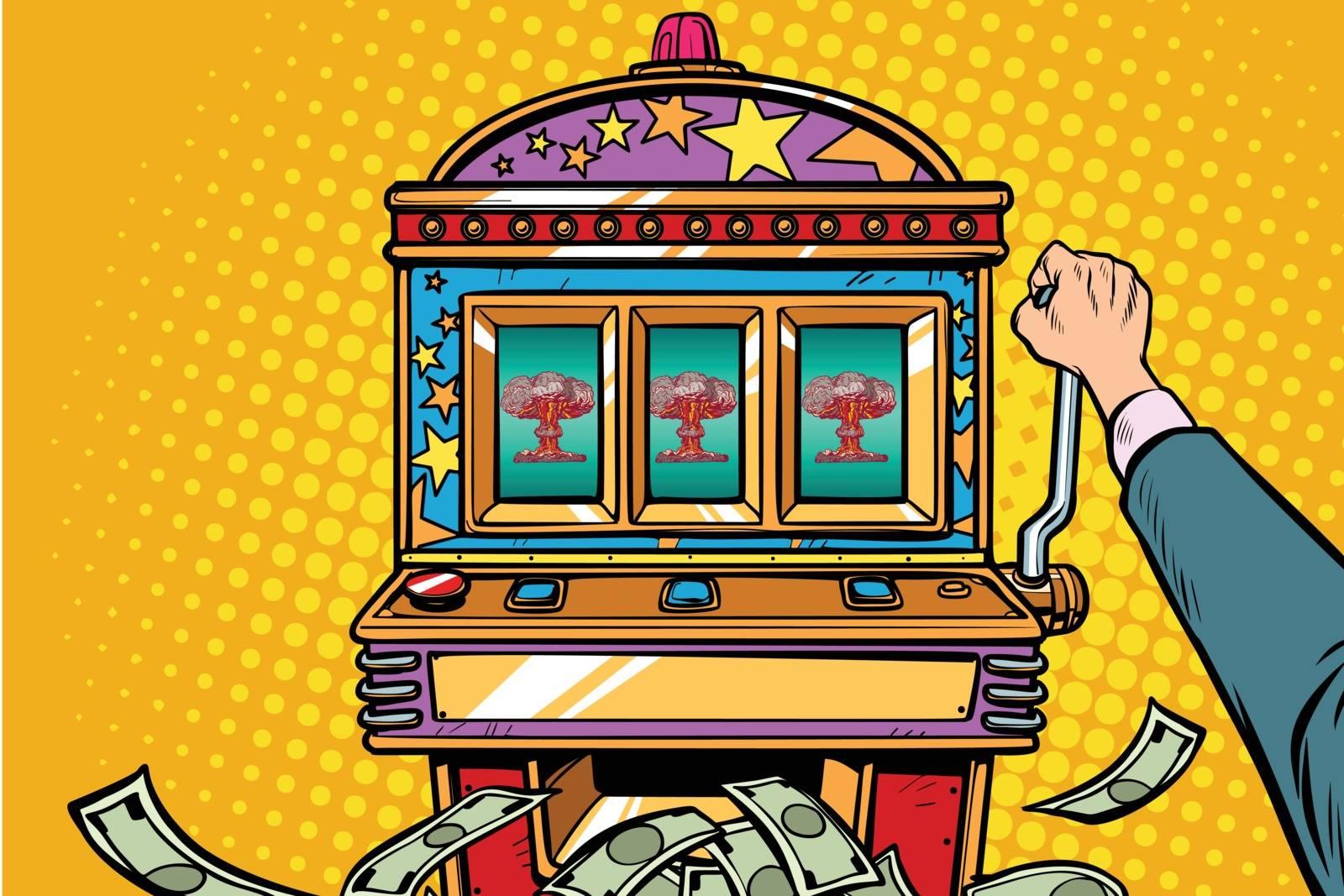 war games, aggressive politics concept. one-armed bandit slot machine. Pop art retro vector illustration vintage kitsch